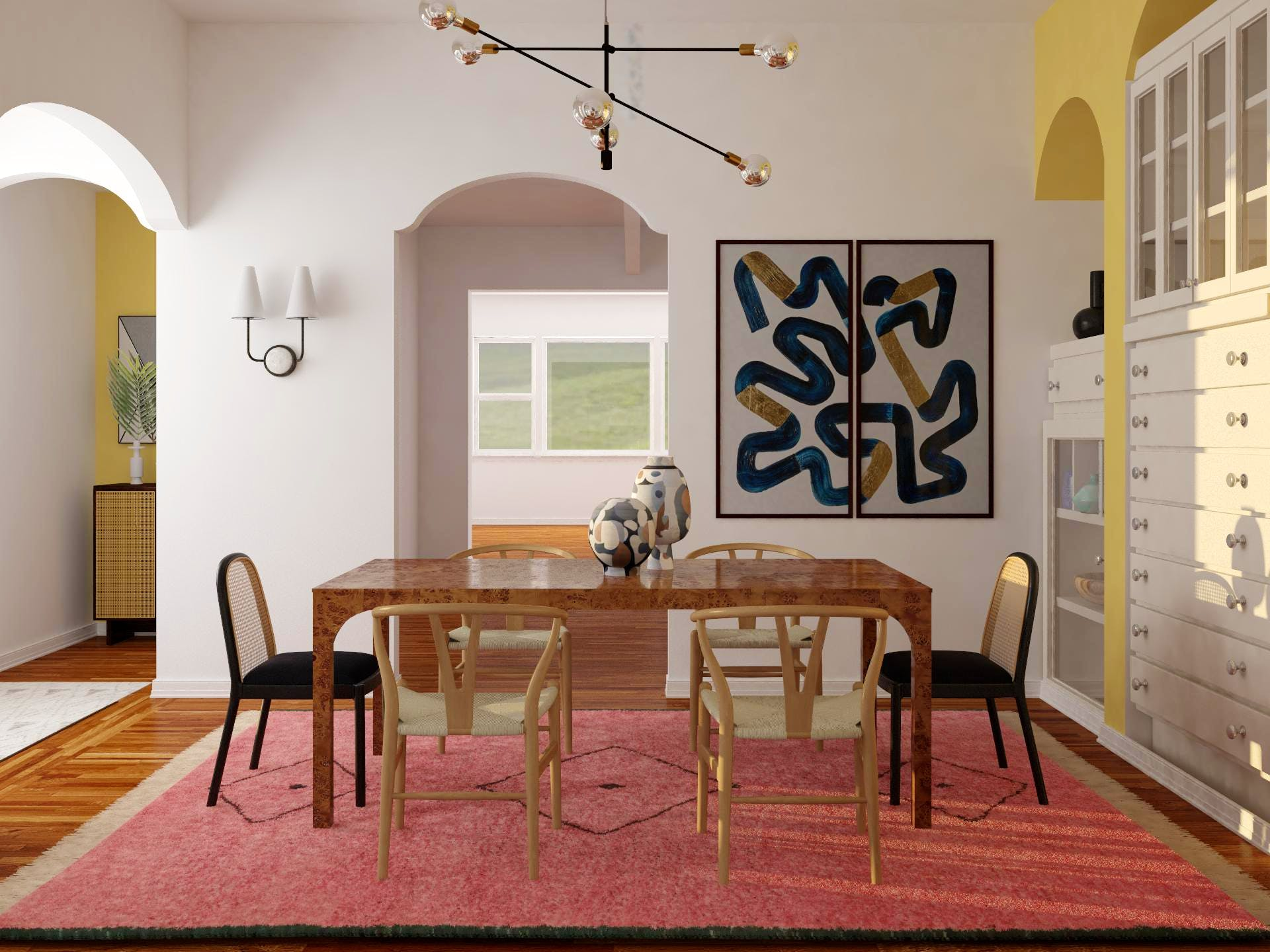 Geometric Shapes Abound in Bold Minimalist-Maximalist Dining Room