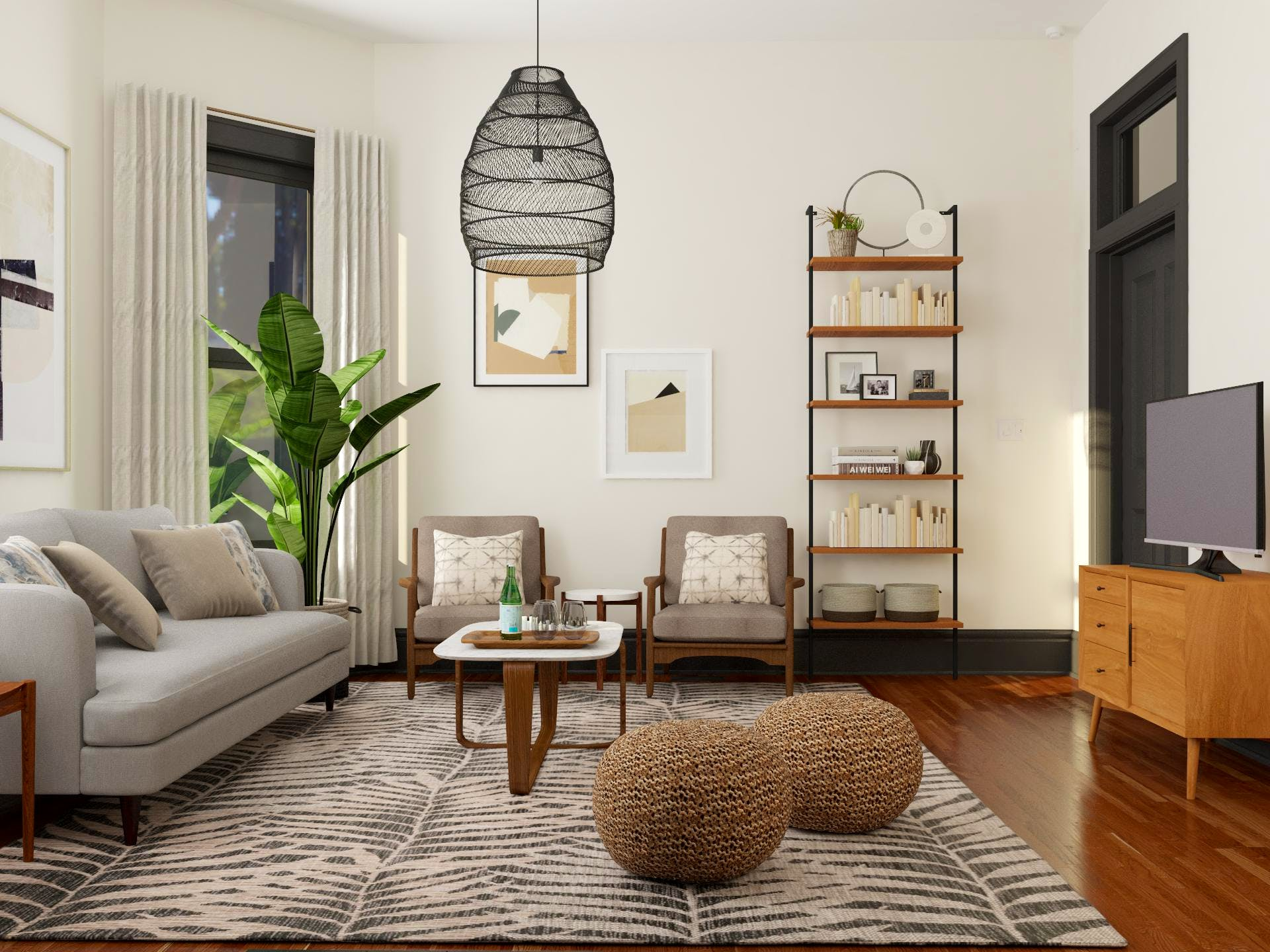 Industrial Inspired Living Room With Organic and Mid-Century  Flare