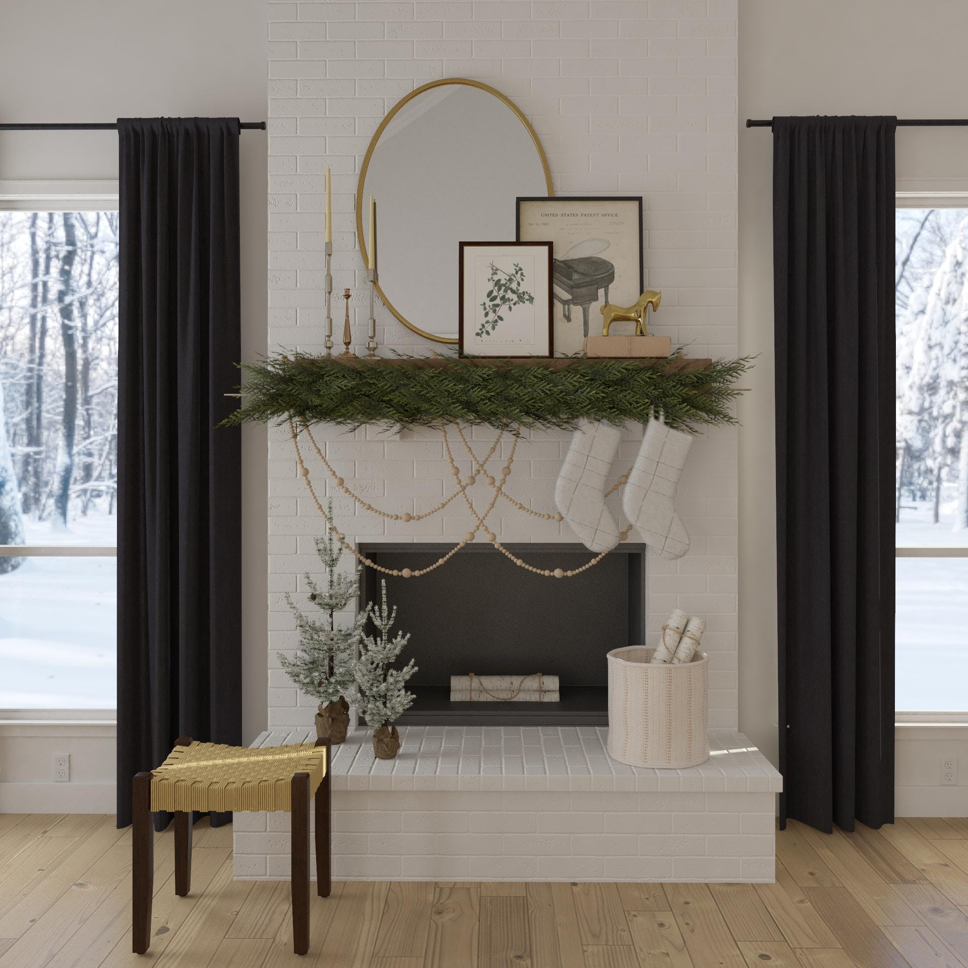 Refined Rustic Holiday Fireplace