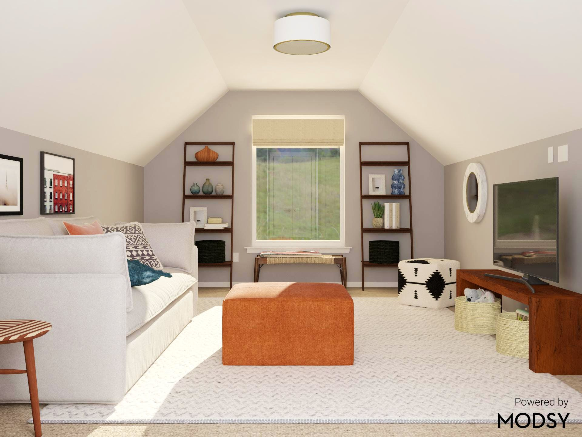 Mid-Century-Modern Attic Living Room