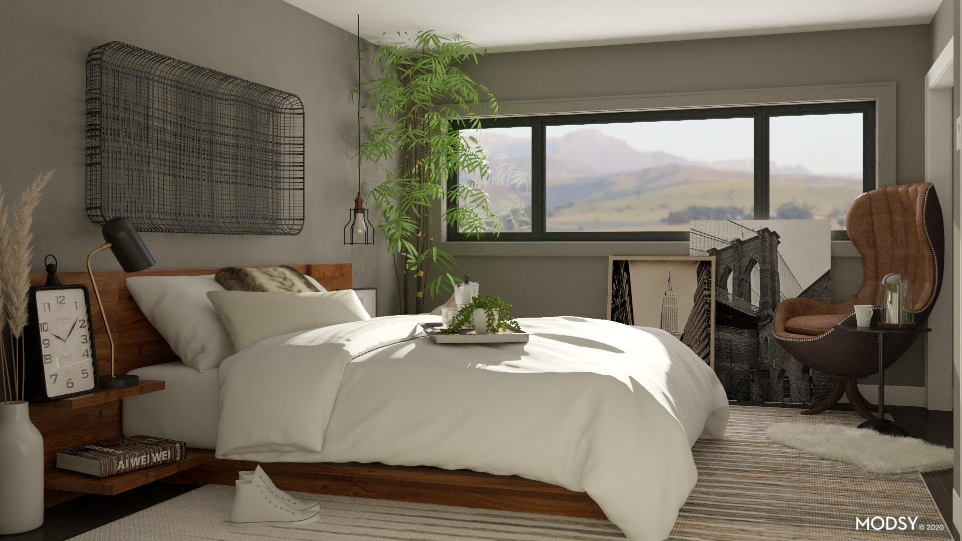 A Neutral Industrial Bedroom