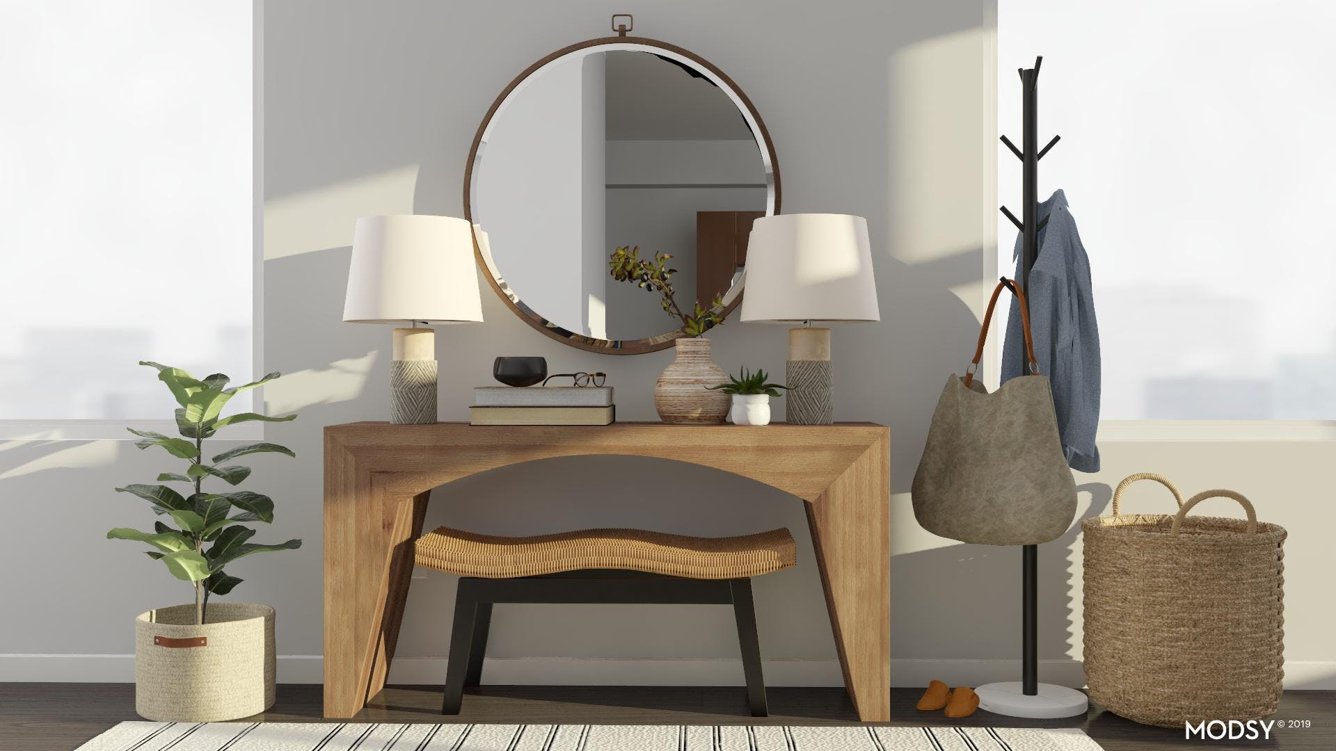 Symmetry Soothes In This Modern Entryway