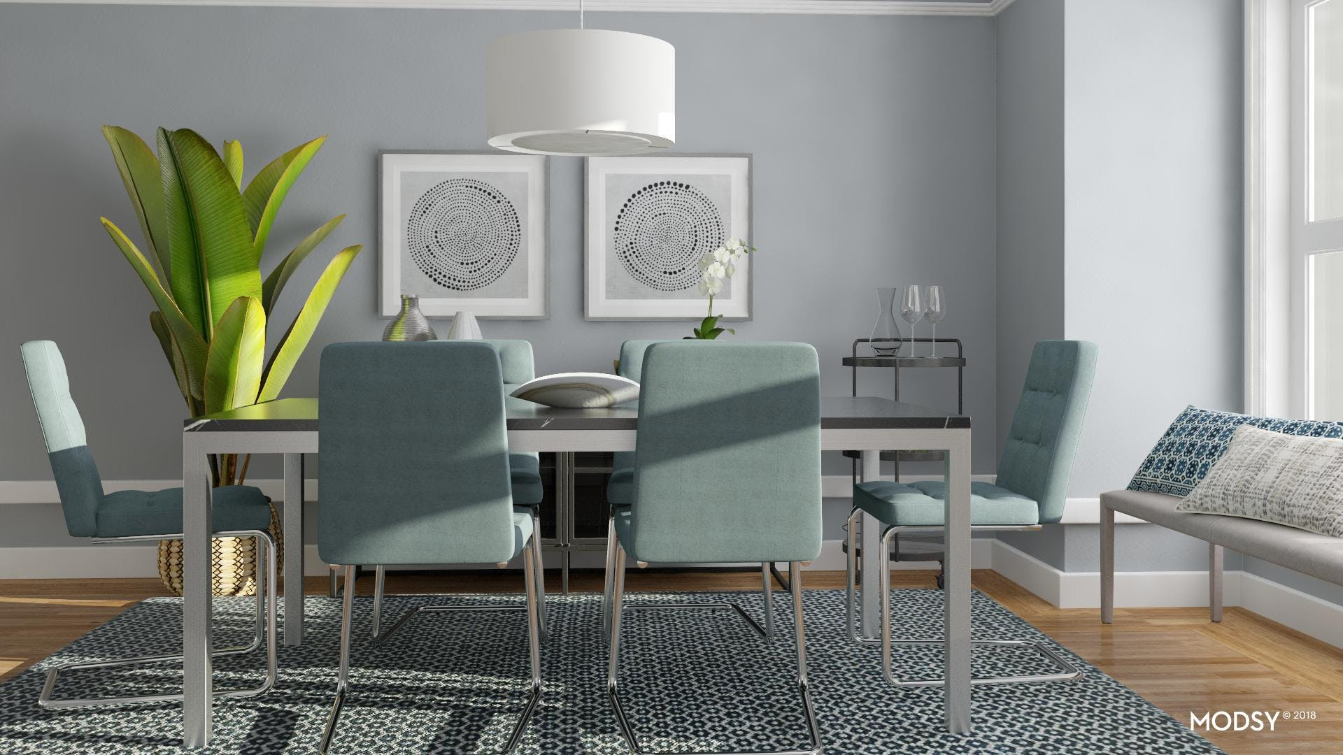 Classic Colors For A Contemporary Dining Room