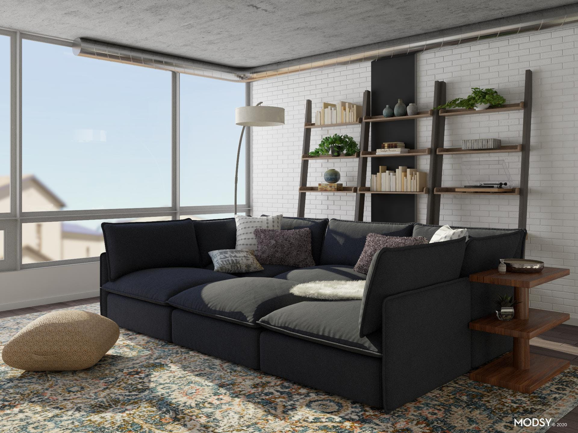 Industrial Living Room: Pit Sectional