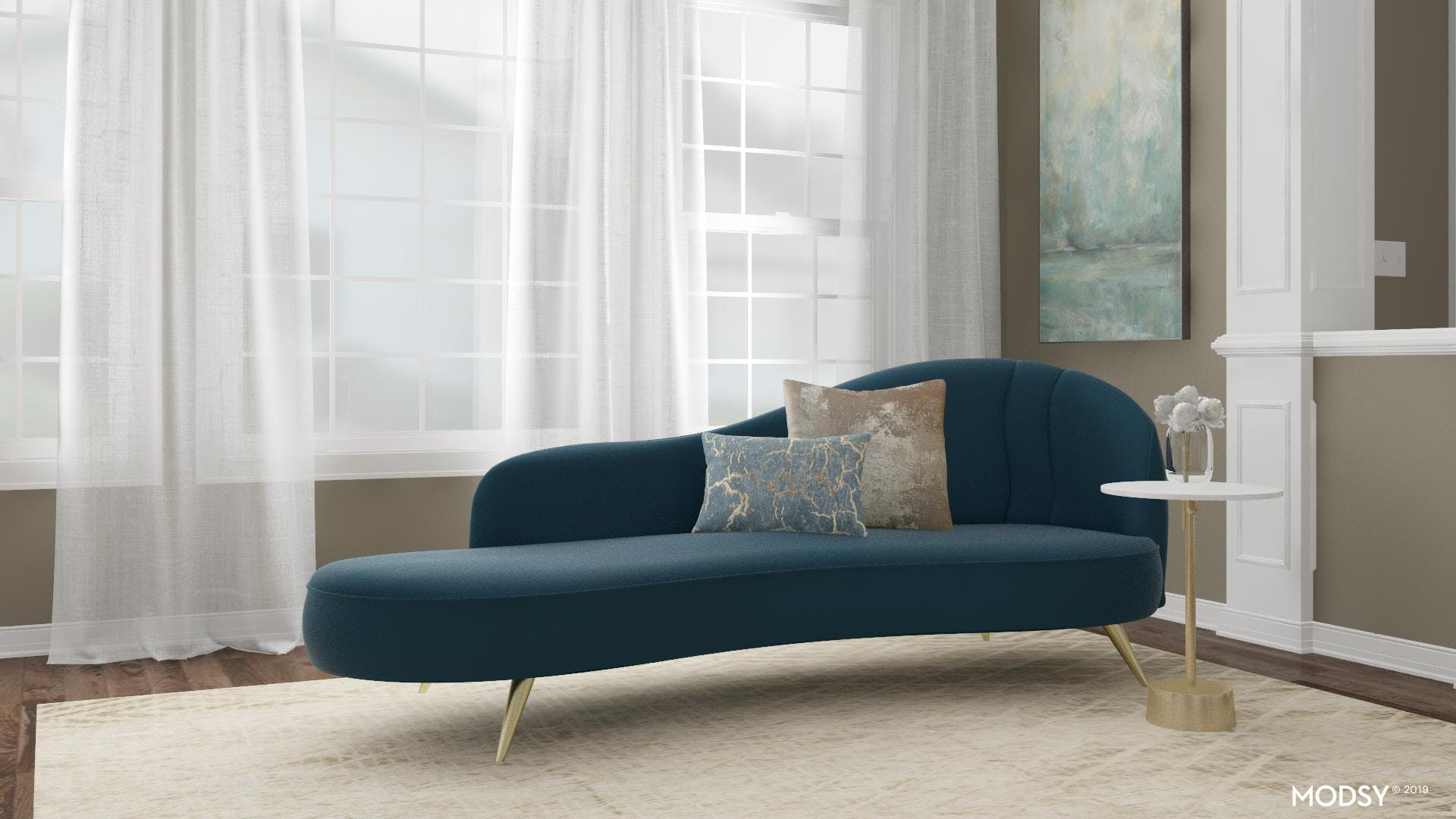 Trendy Teal Chic Living Room