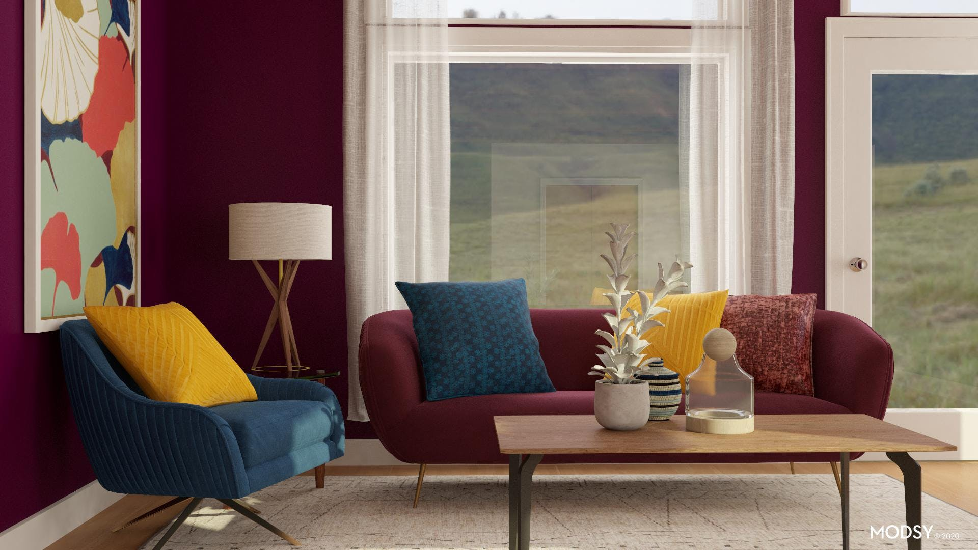 Mid Century Living Room In Bold