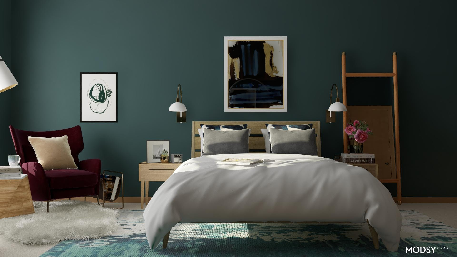 Moody Jewel Tone Mid Century Master Bedroom