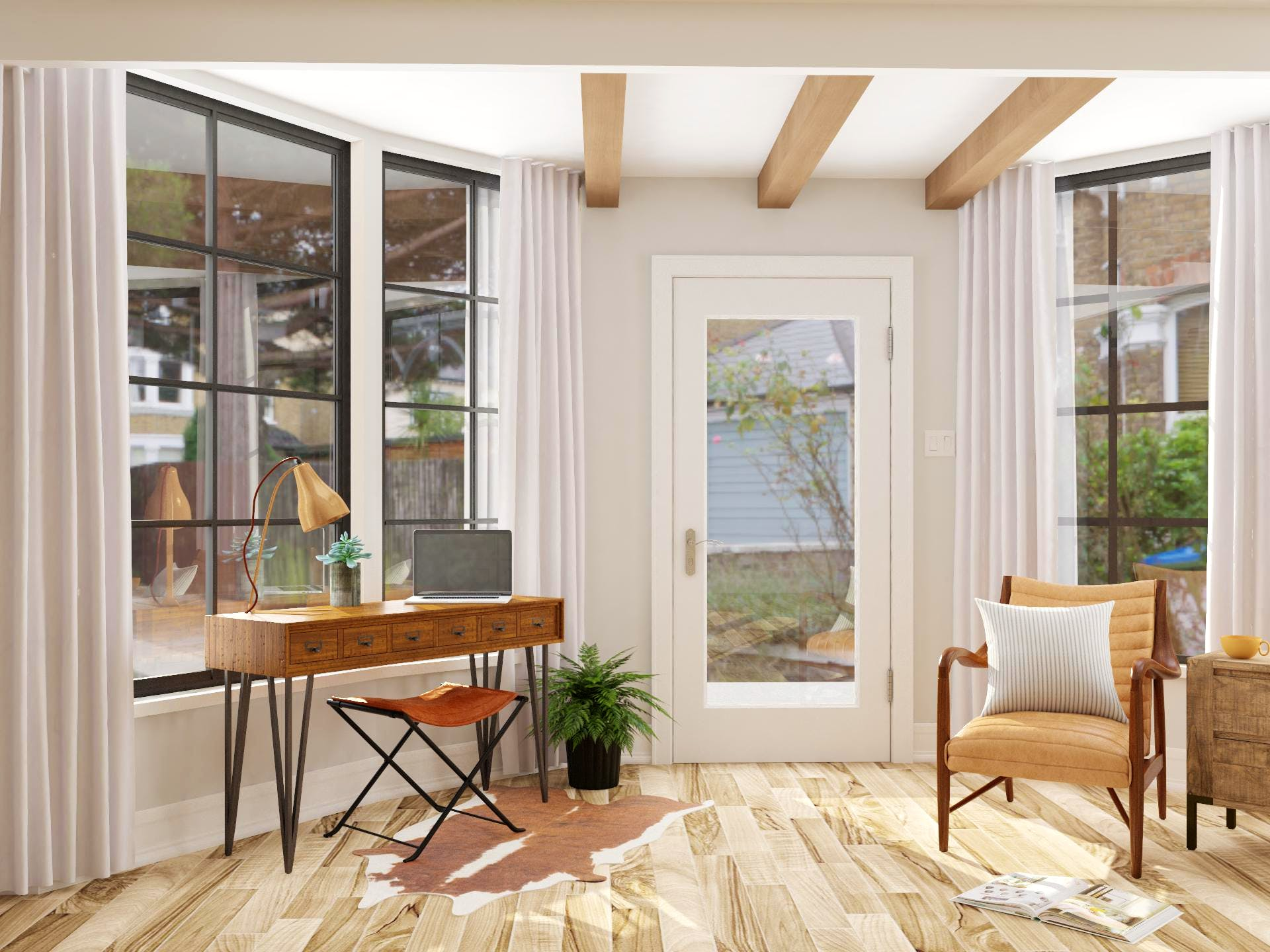 Light and Airy Rustic Office