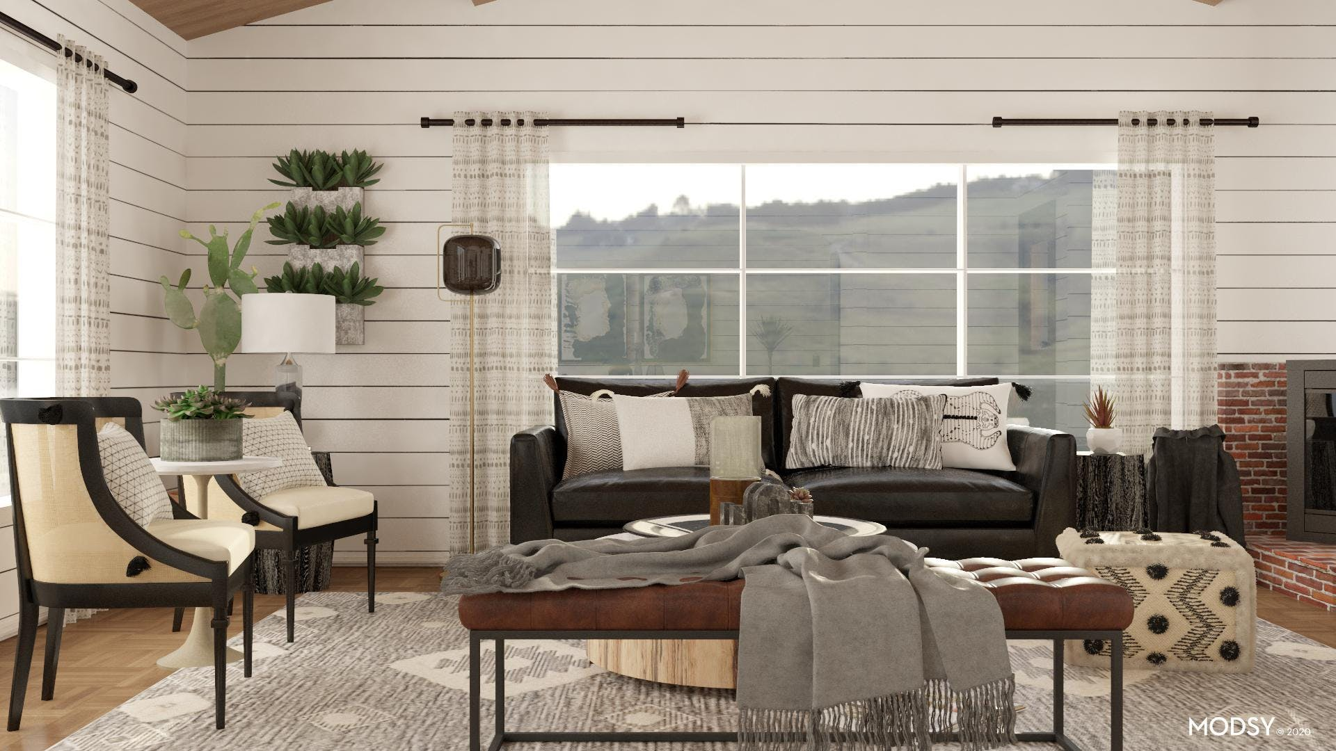 Black and White Eclectic Living Room