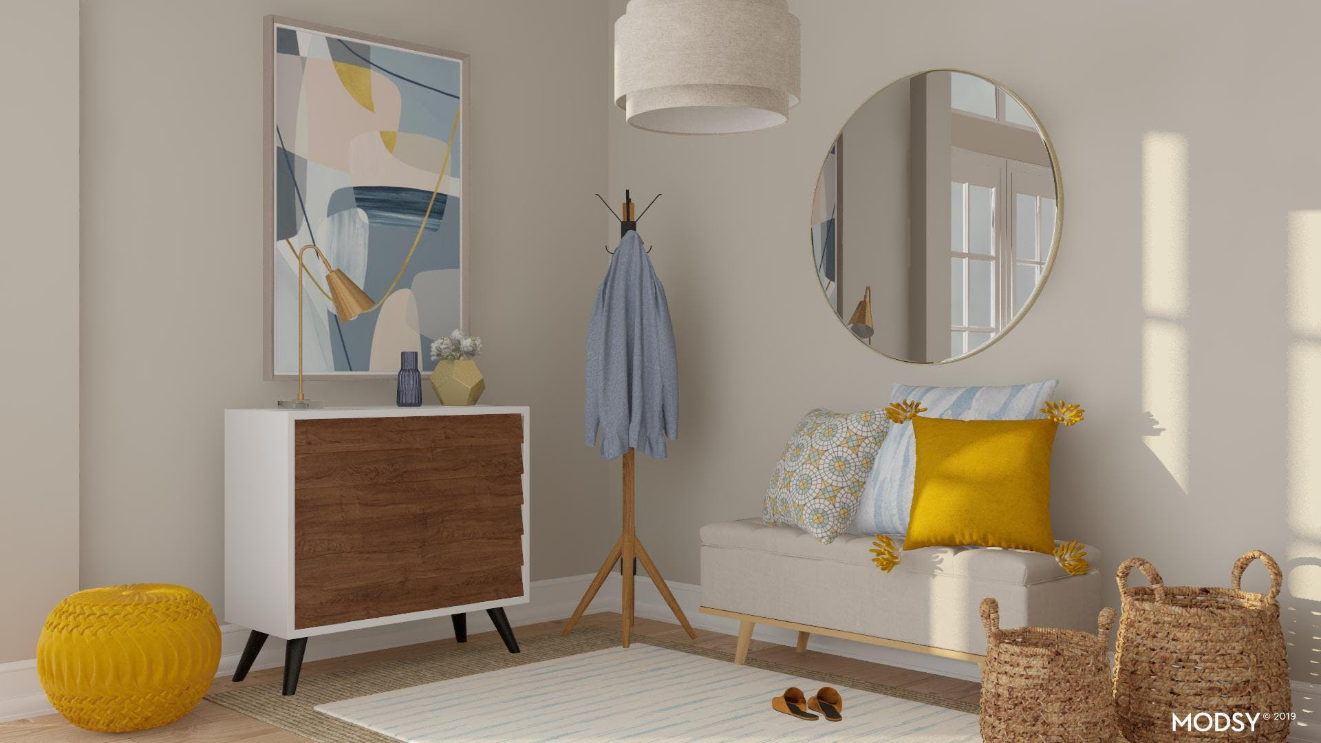 Modern Entryway with Pops of Yellow