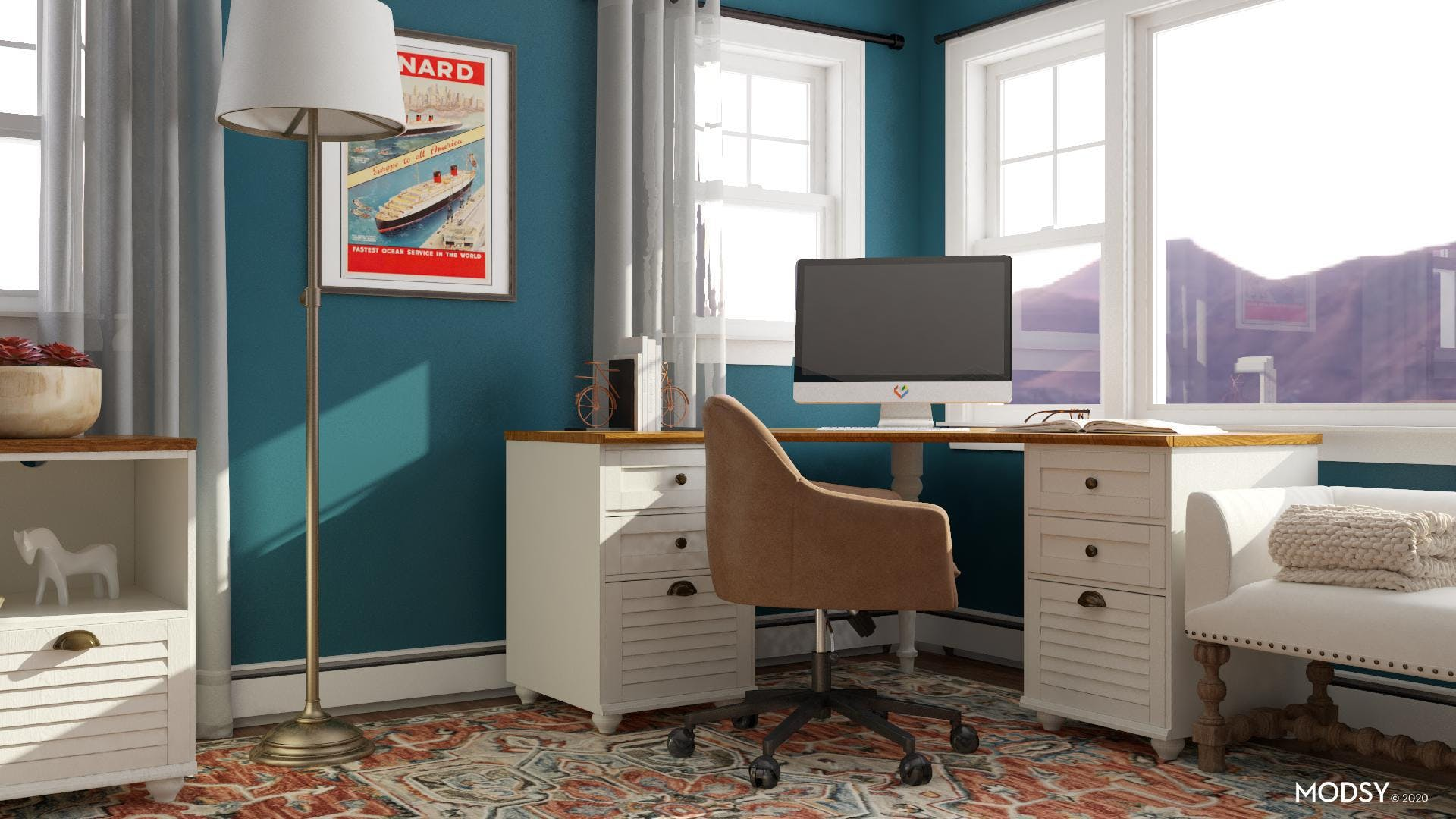 Blue Jewel Traditional Office