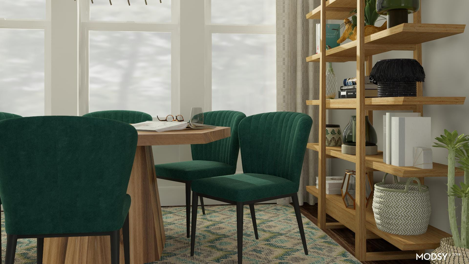 Mid-Century Modern Dining Room Styled With Greens