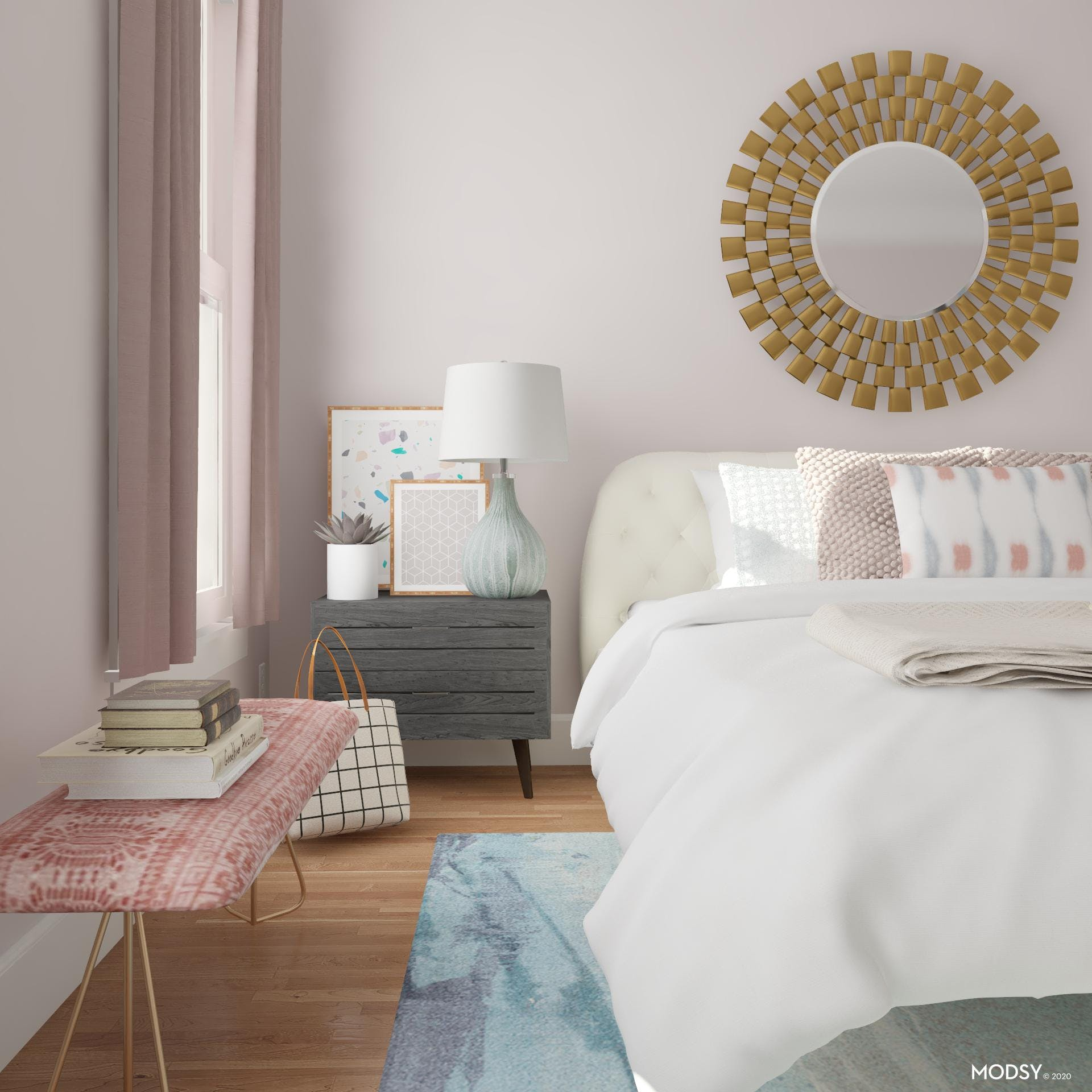 Large Statement Mirror Over The Bed