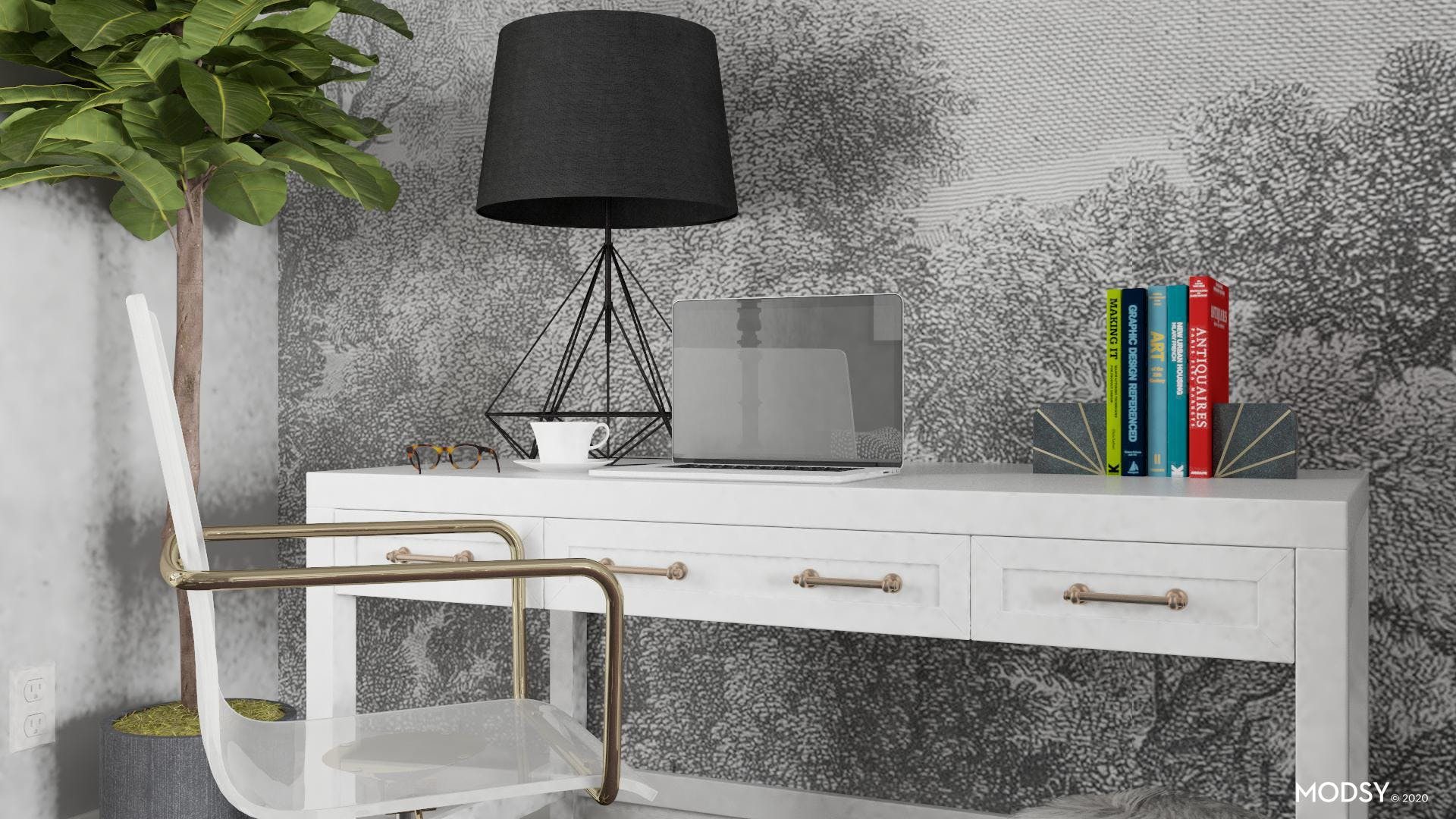Black And White For An Eclectic Office