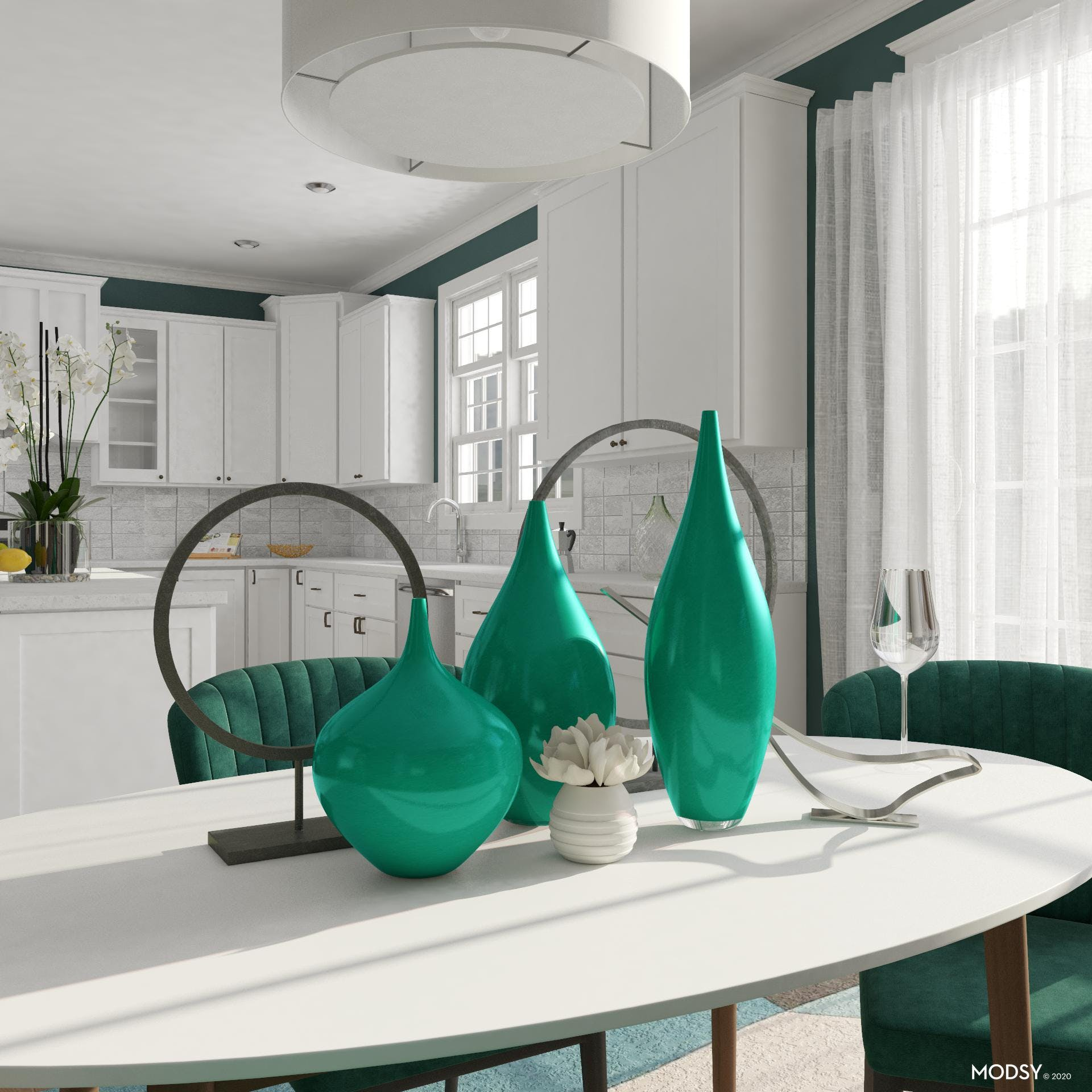 Bold, Green And Modern: A Dining Room
