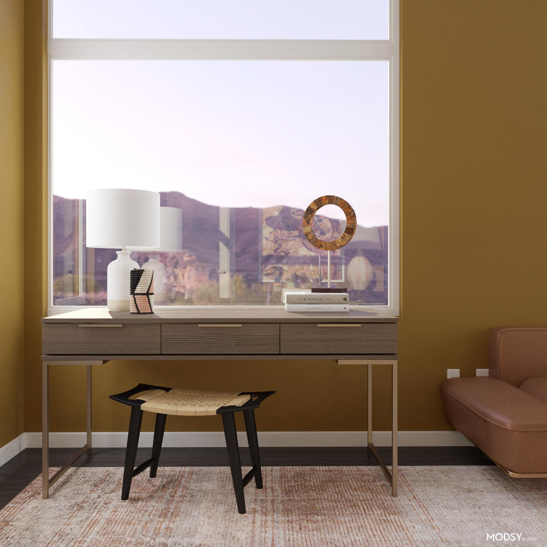 Minimalist Office with Earth Tones