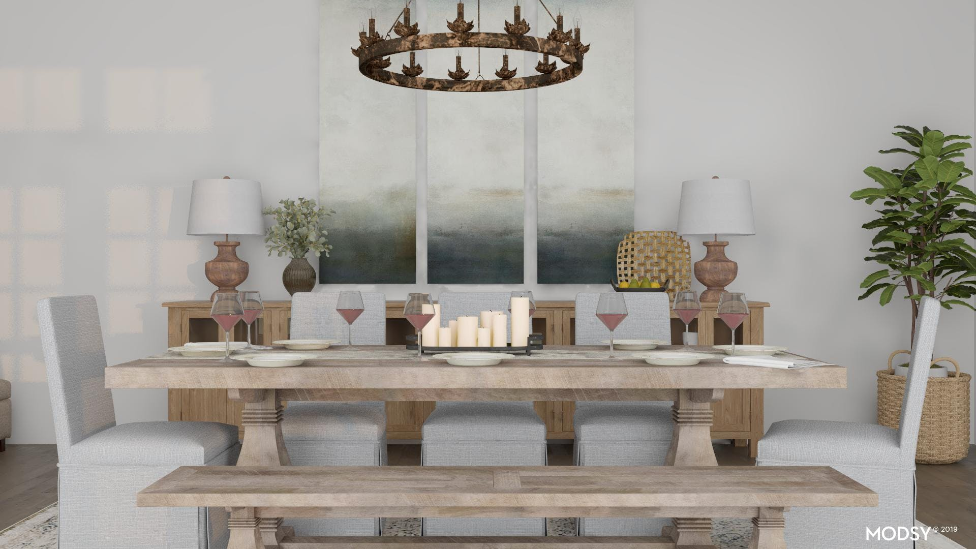 Warm Neutrals for a Large Rustic Dining Room