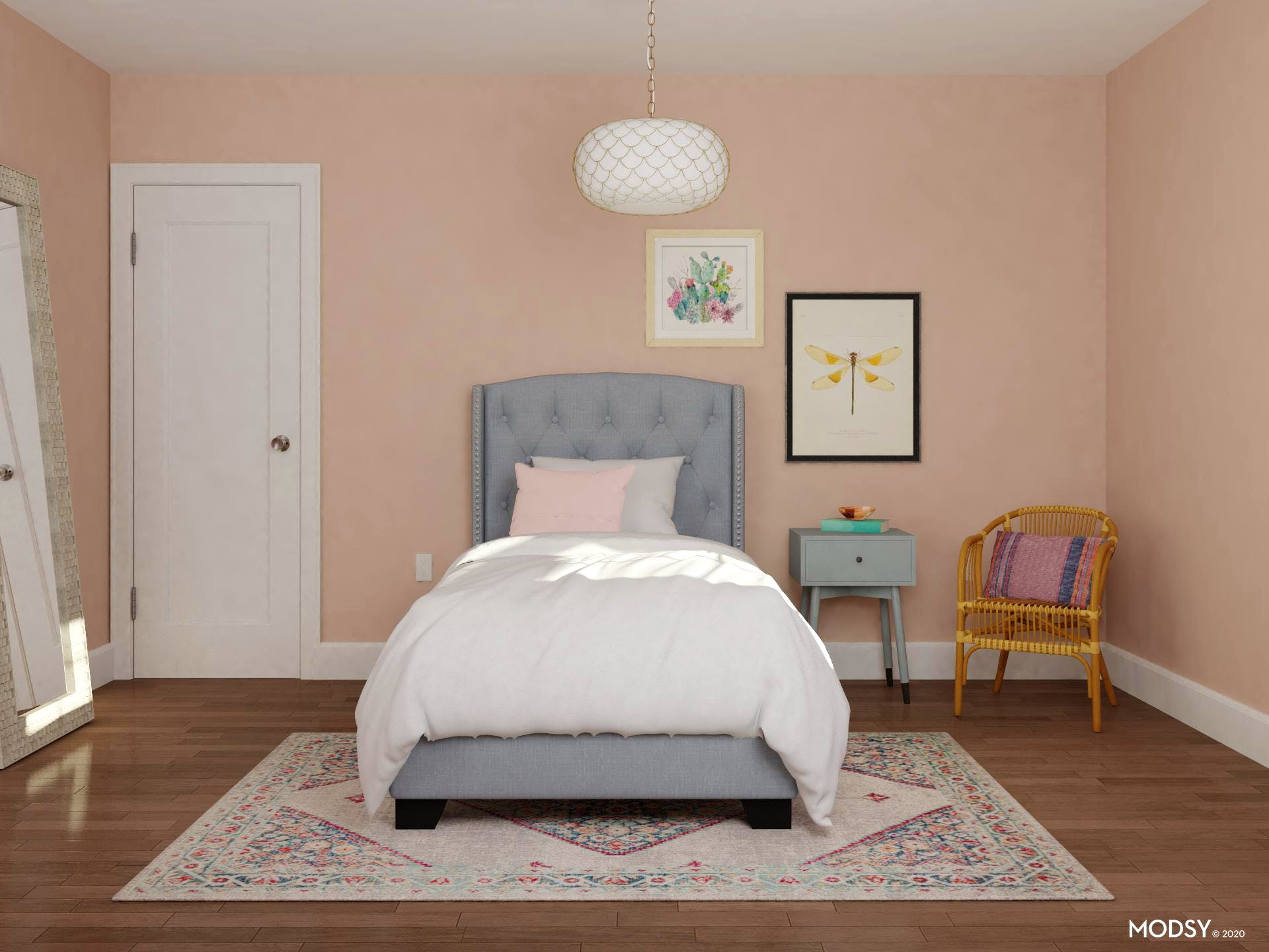 Sweet Pink Bedroom in Transitional Style with Youthful Flare