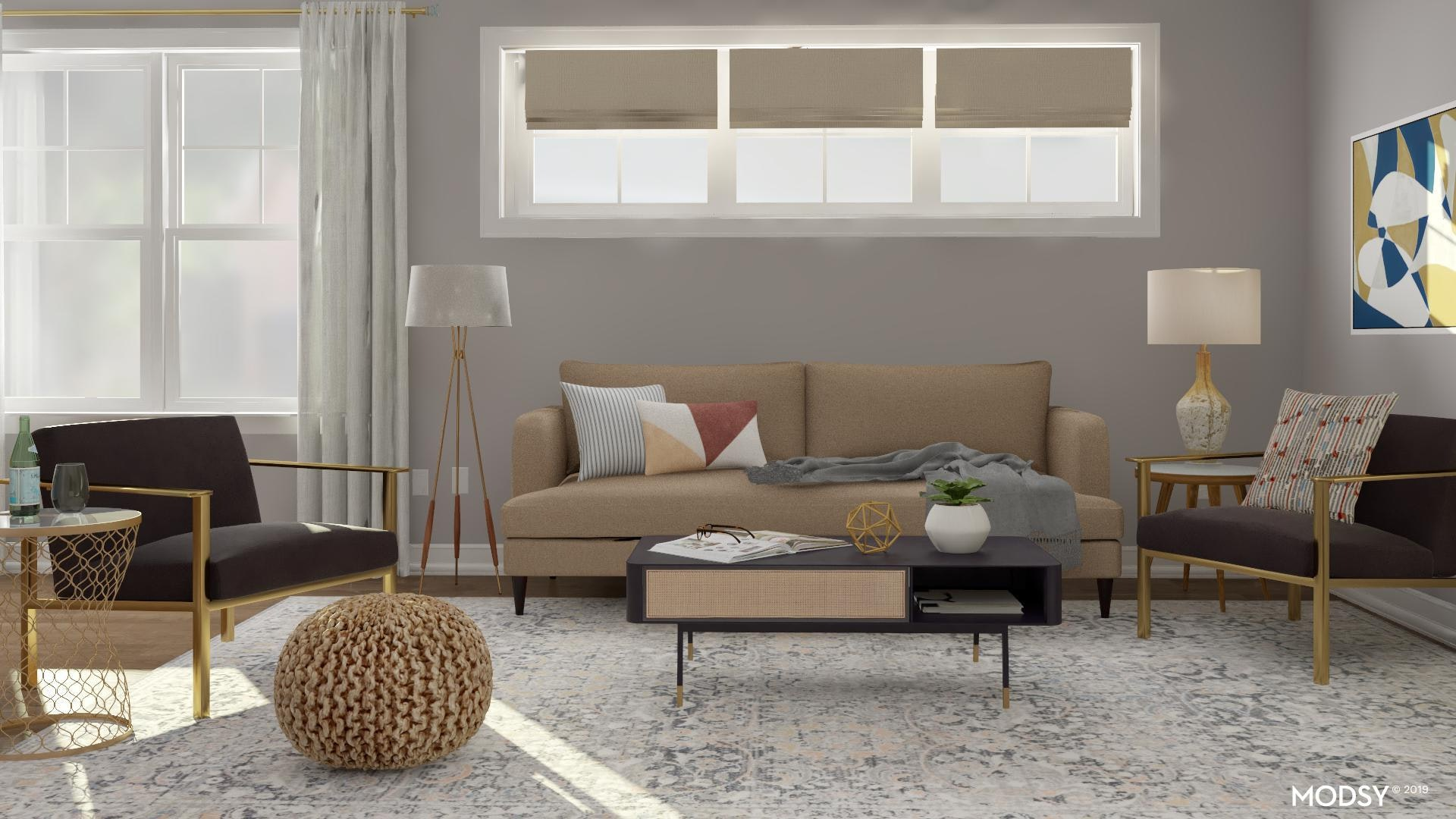 Brass Is Chic Modern Style Living Room Design Ideas