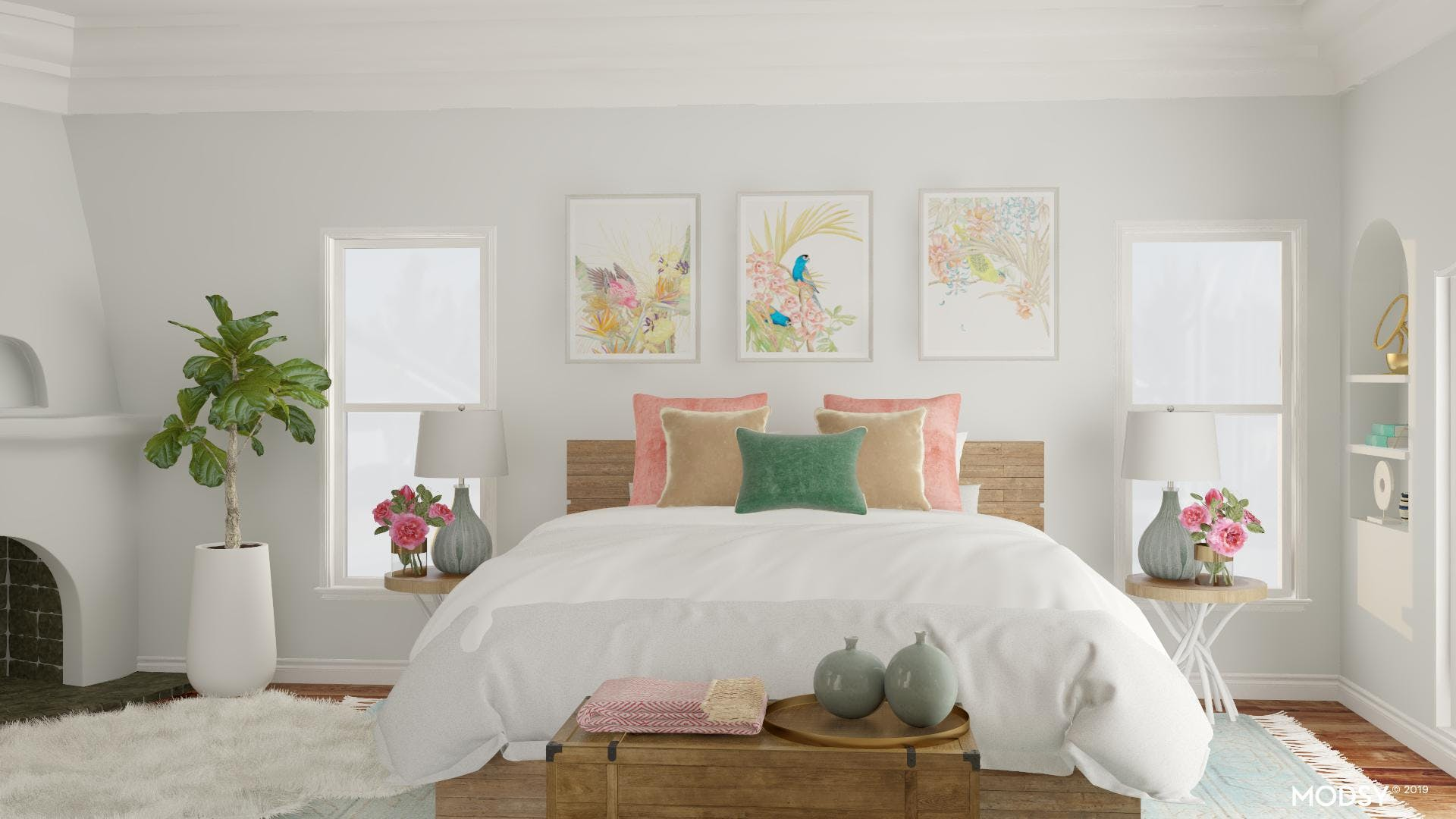Rustic Bedroom Retreat with Pops of Color