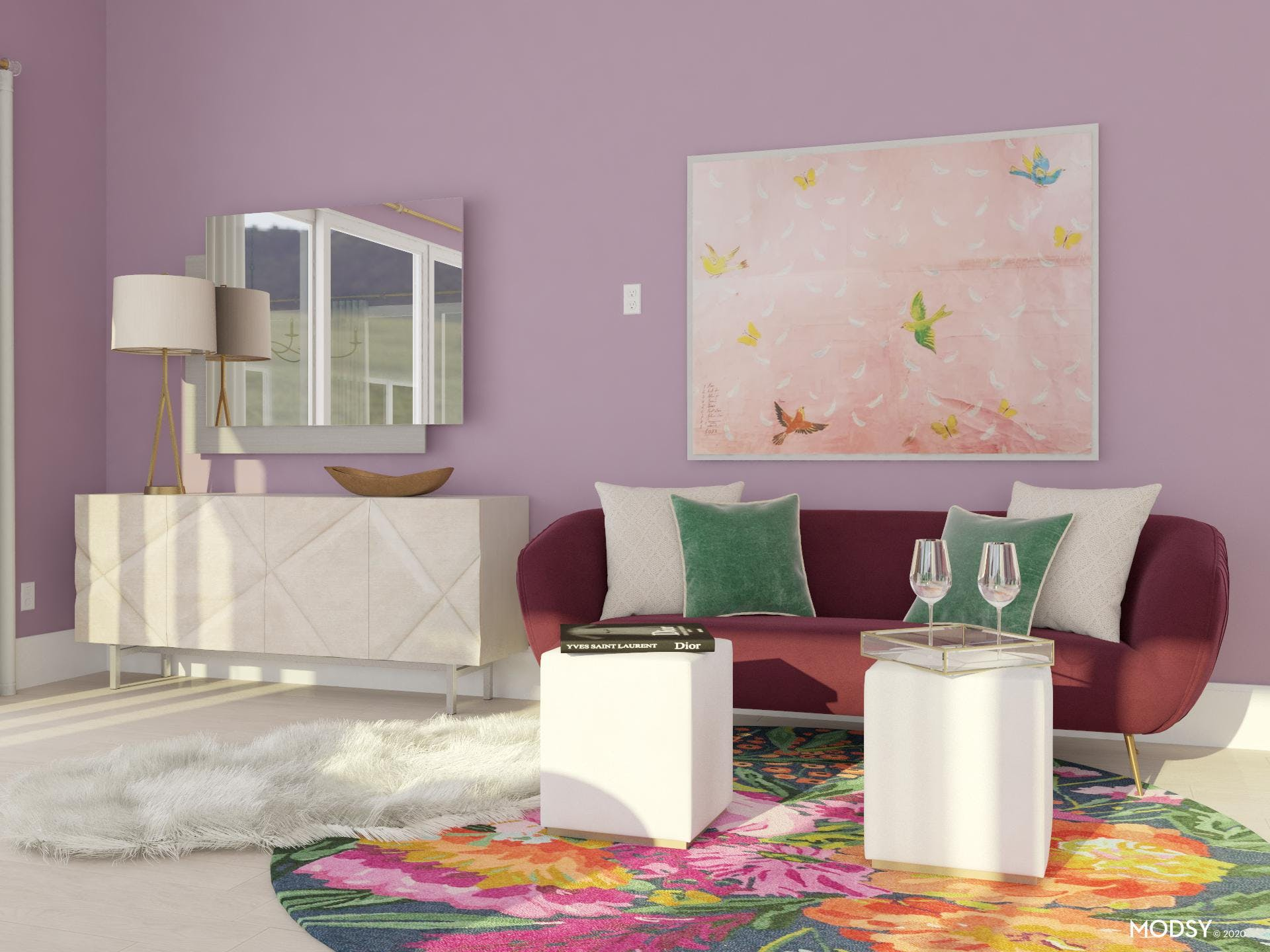 Purple Pastel Paradise Living Room