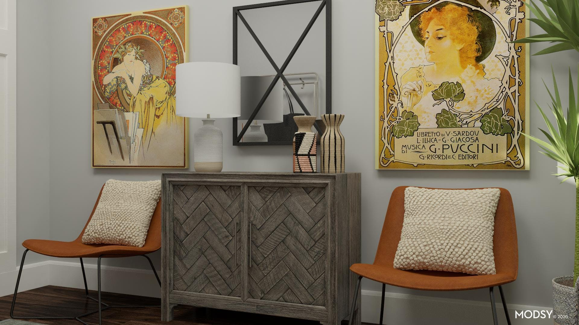 Vintage Art and Seating Nook