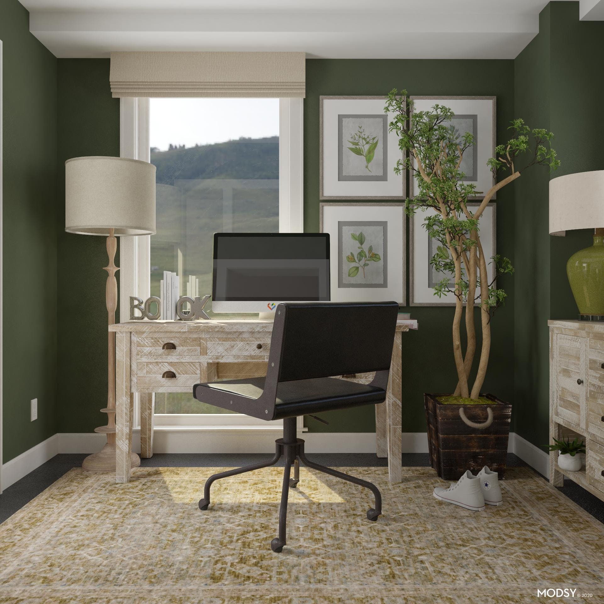 Rustic Desk with a Green Pop