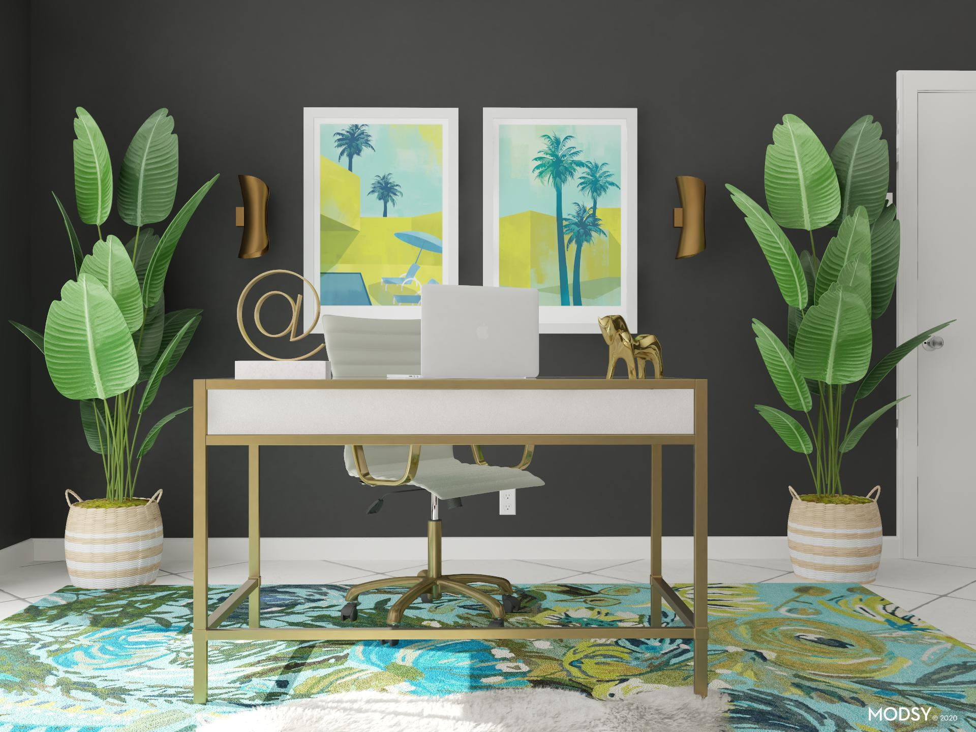 A Green Glam Office Design