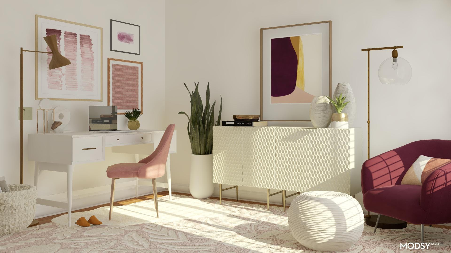 Jewel-Toned Feminine Office With Pops Of Gold