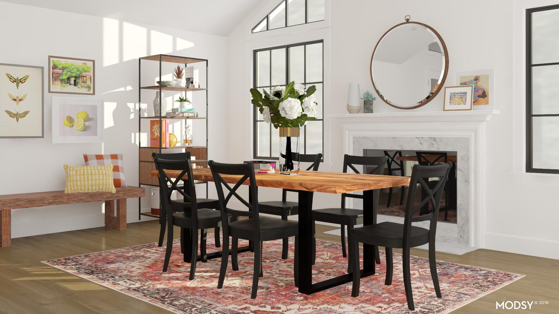 Bright Colors for a Rustic Dining Room