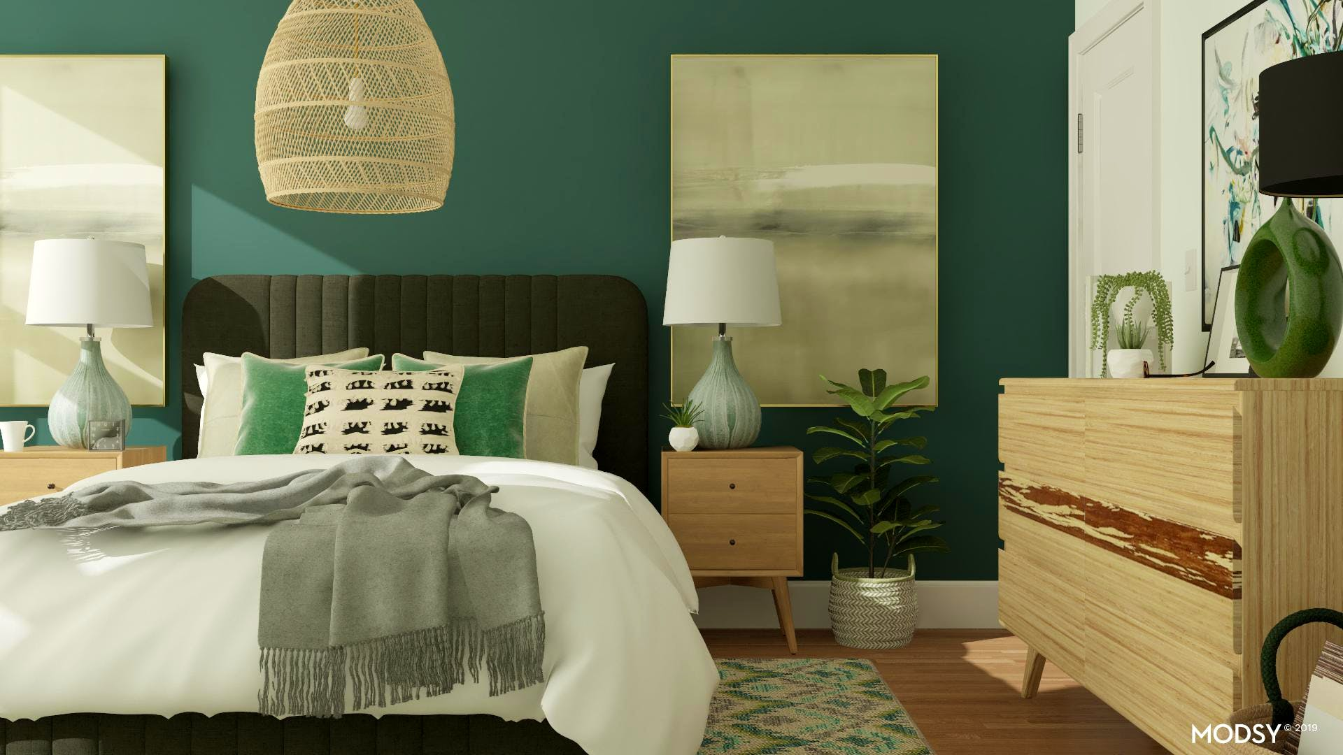 Fun Mid-Century Modern Bedroom With Green Accents