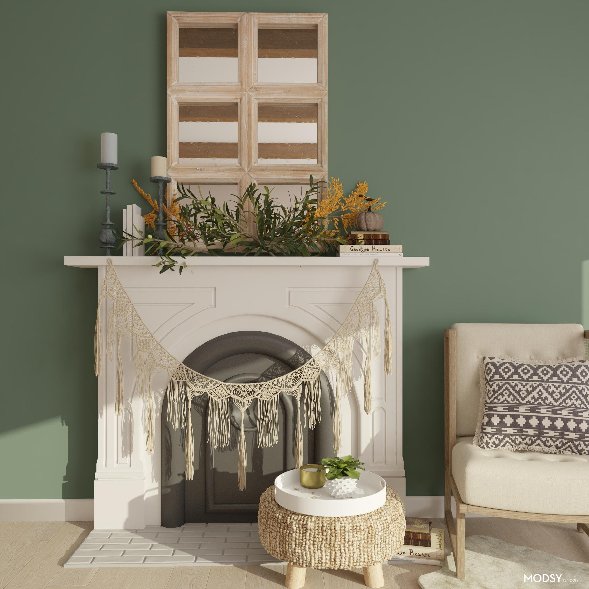Fall Boho Fireplace