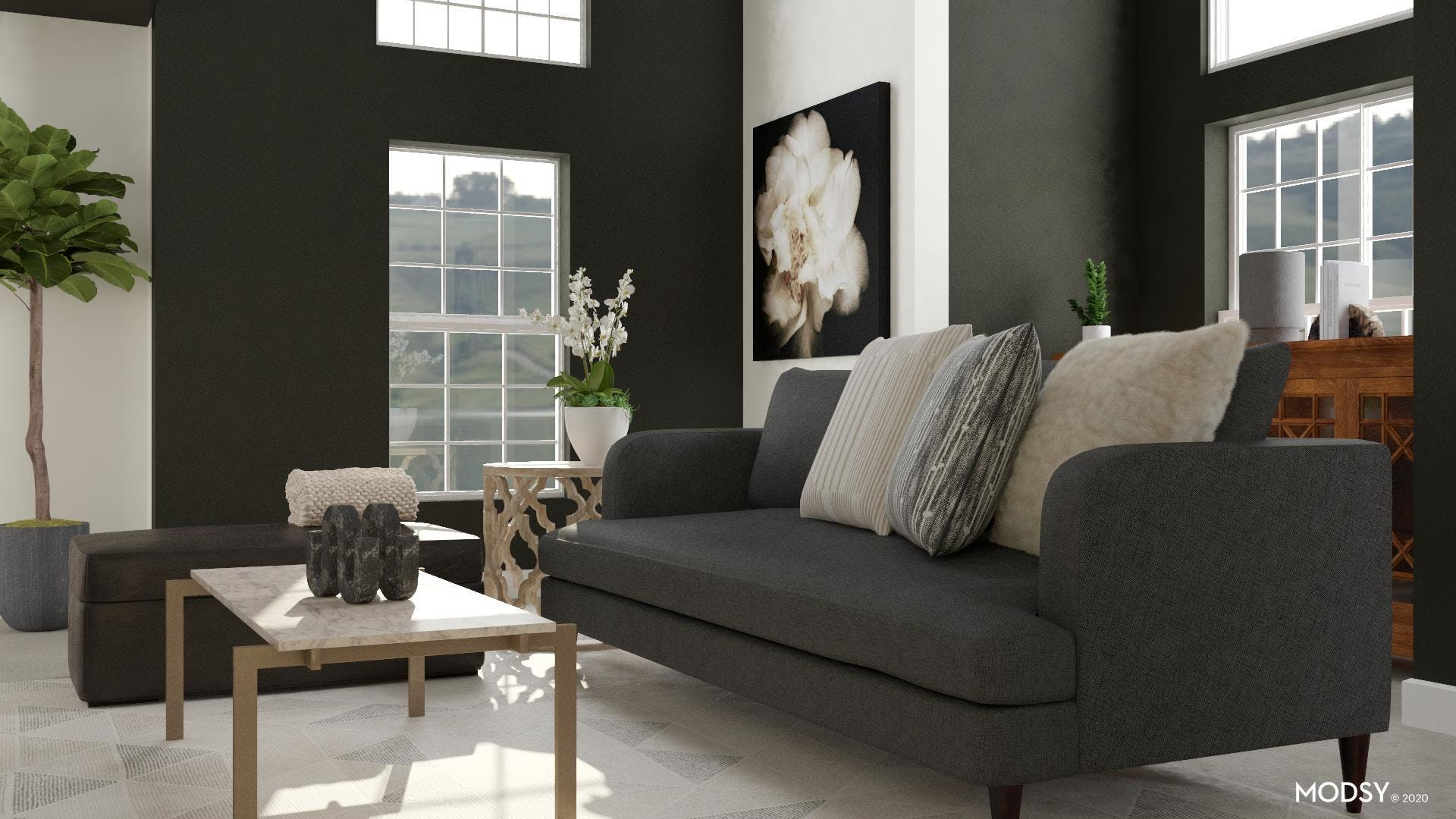 Melodic Colors in Transitional Living Room