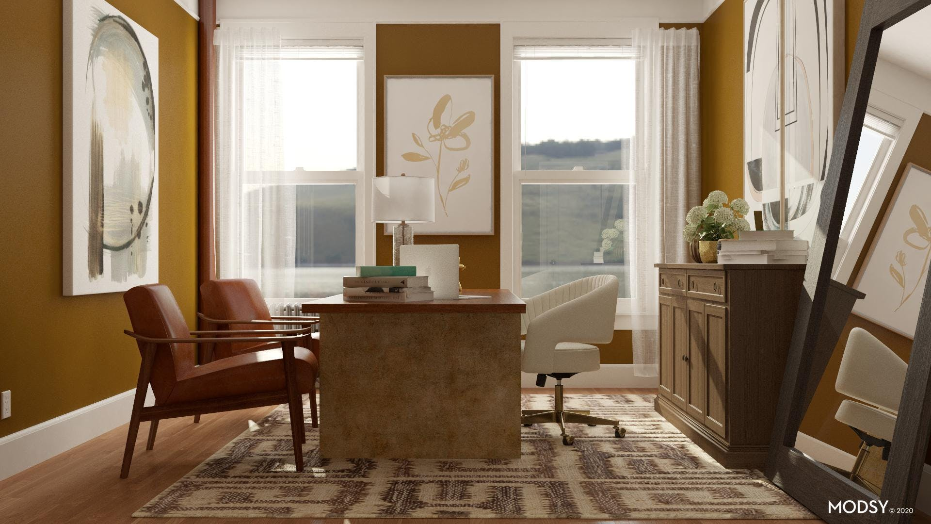 Transitional Earth Tone Office