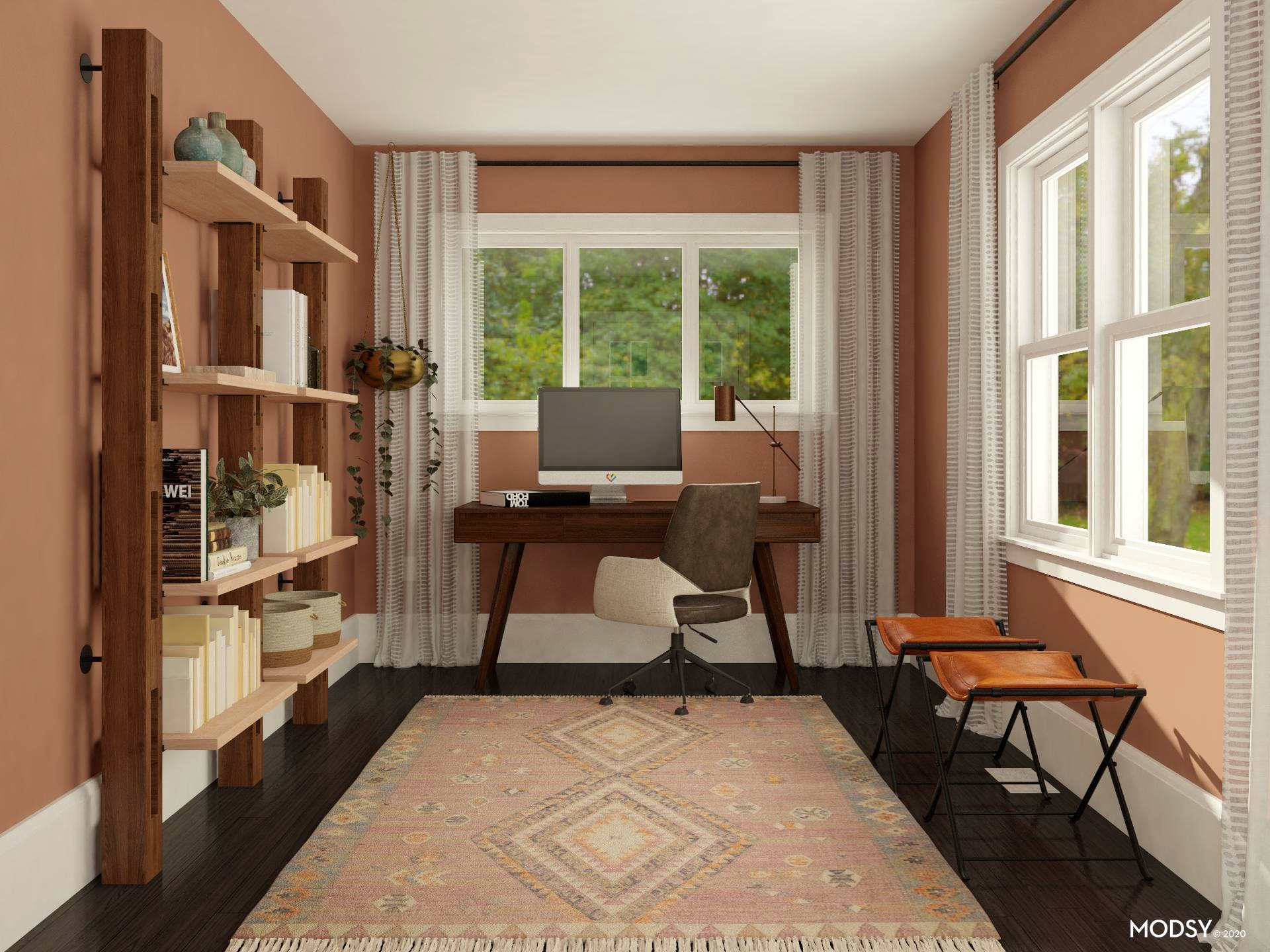 Industrial Home Office in Rosy Hues