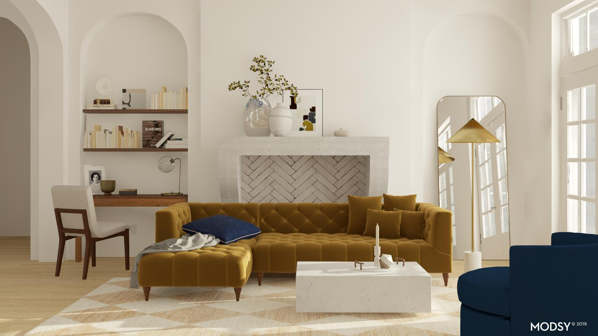 Chic Living Room with Mod Twist