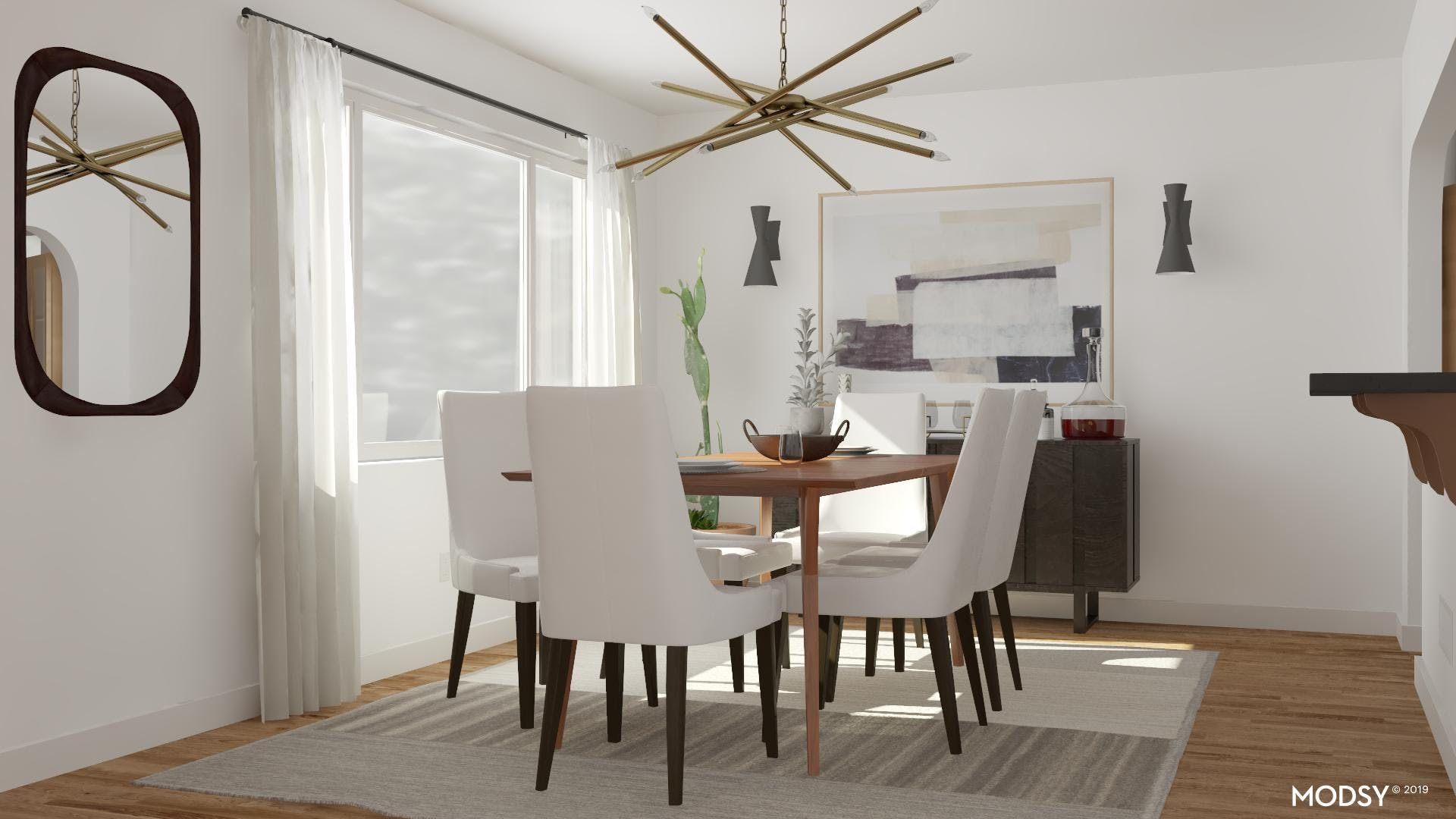A Black And White Mid-Century Modern Dining Room