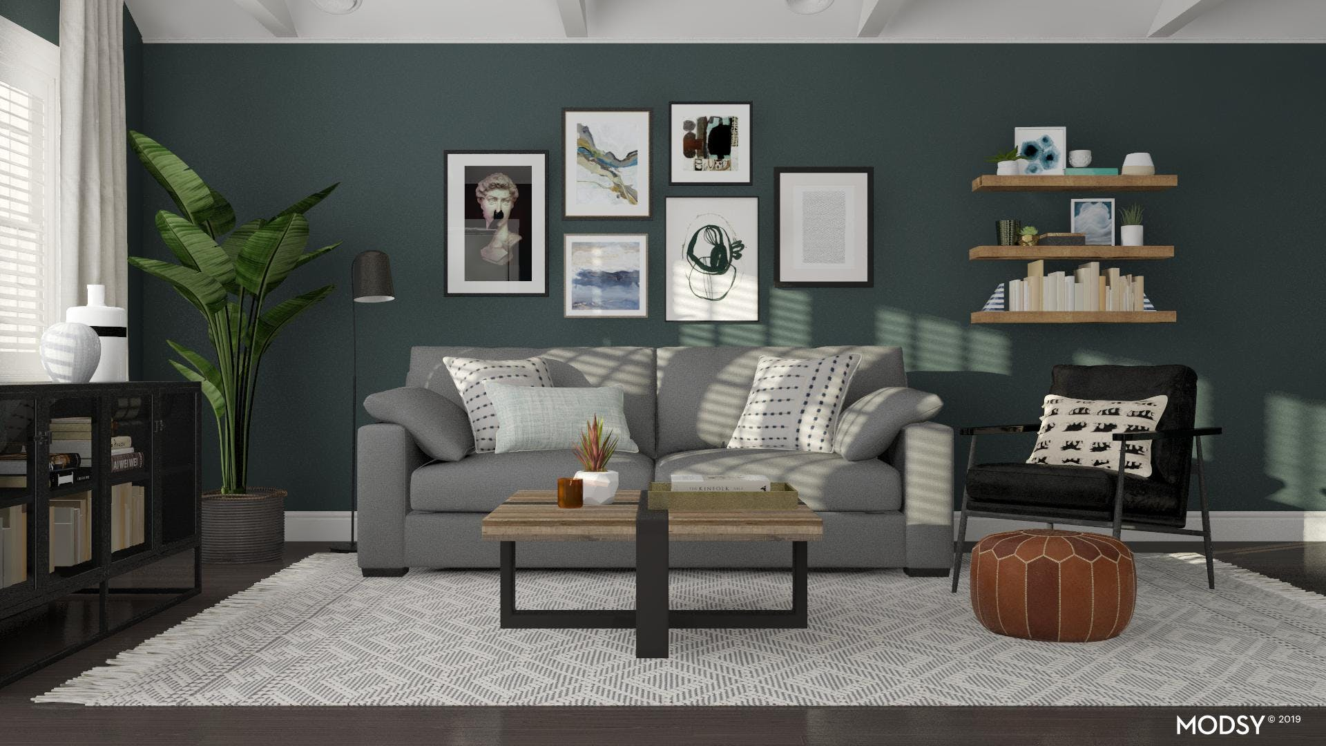 Collected Modern Living Room In Black And White
