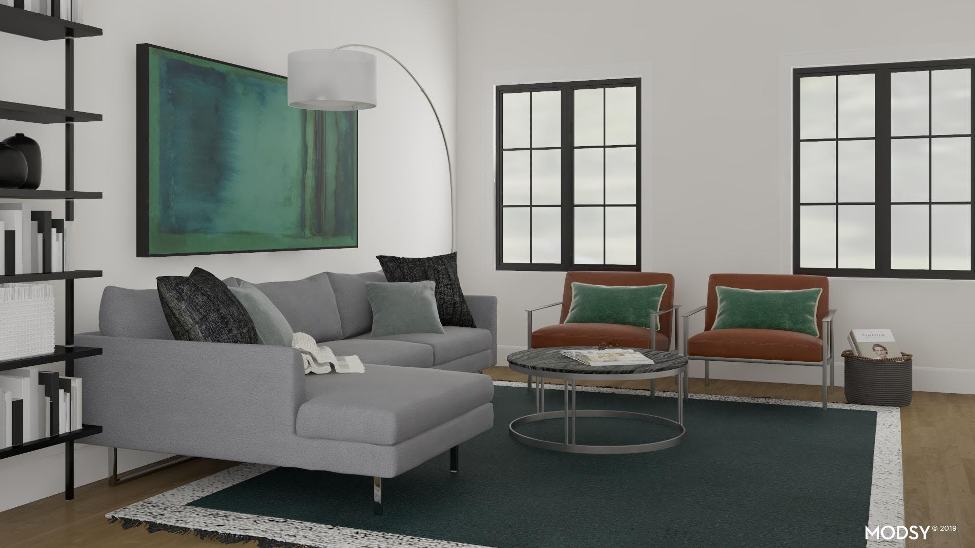 Modern Emerald Living Room Accents