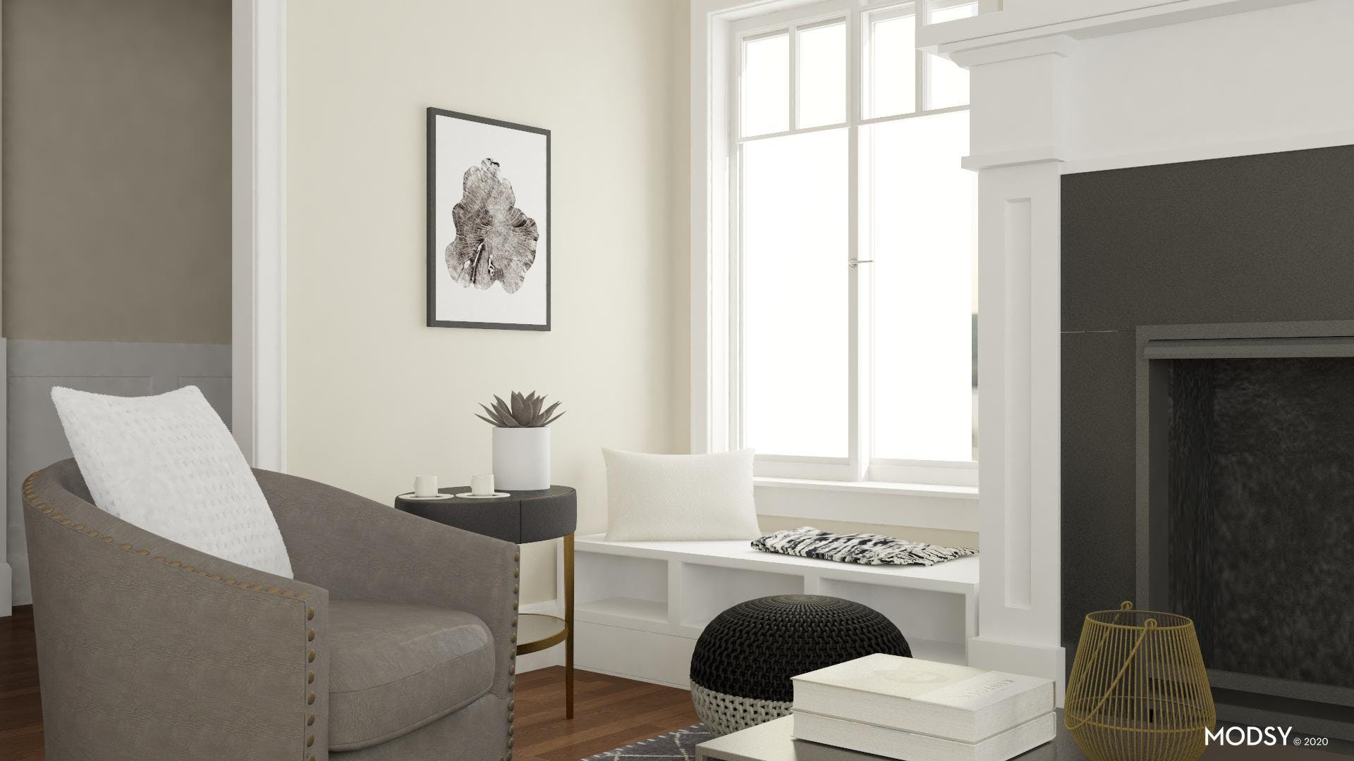 Storage Galore in Black and White Minimalist Living Room