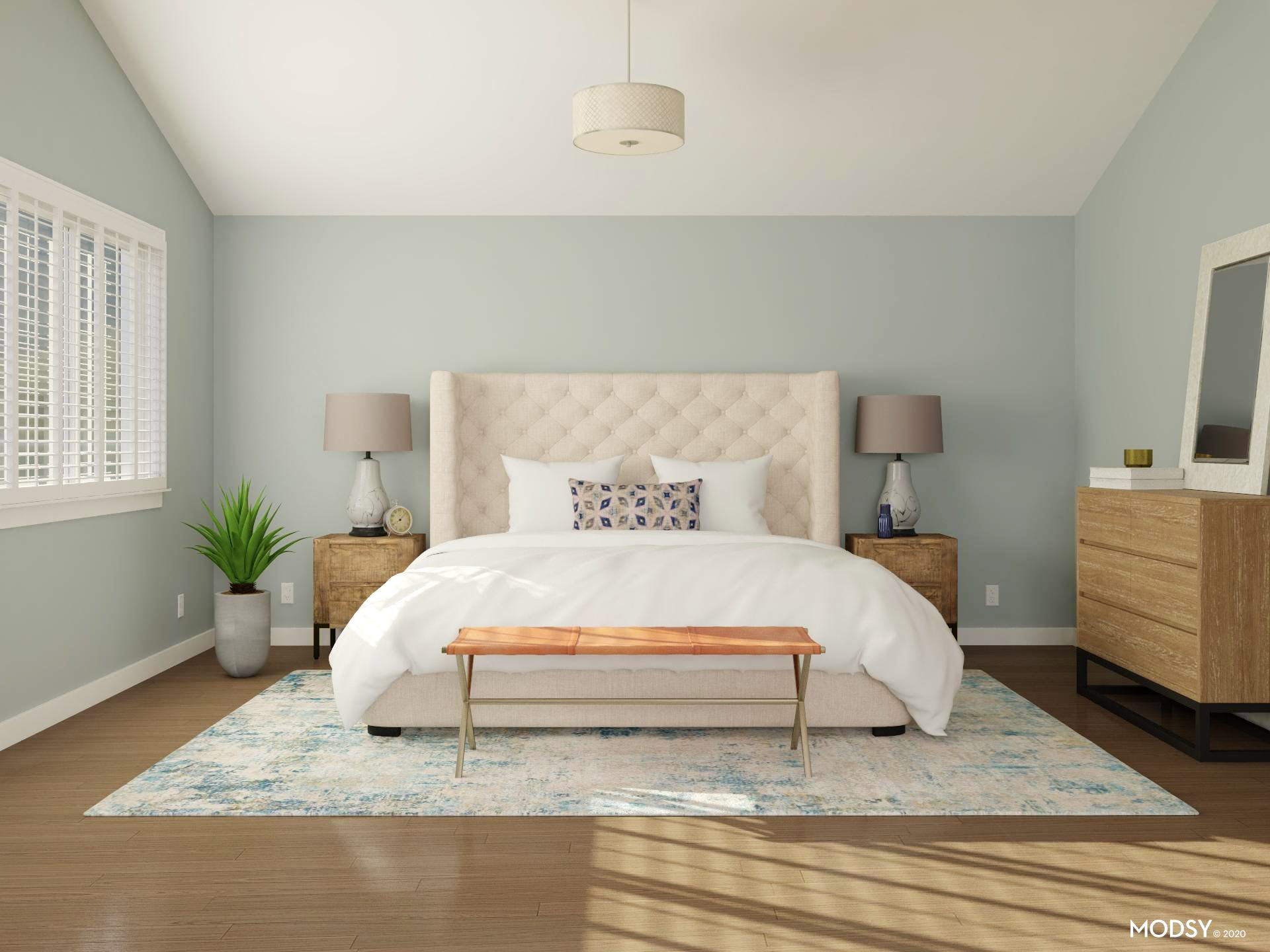 Minimal and Contemporary Bedroom in Breezy Blue with Mid-Size Rug