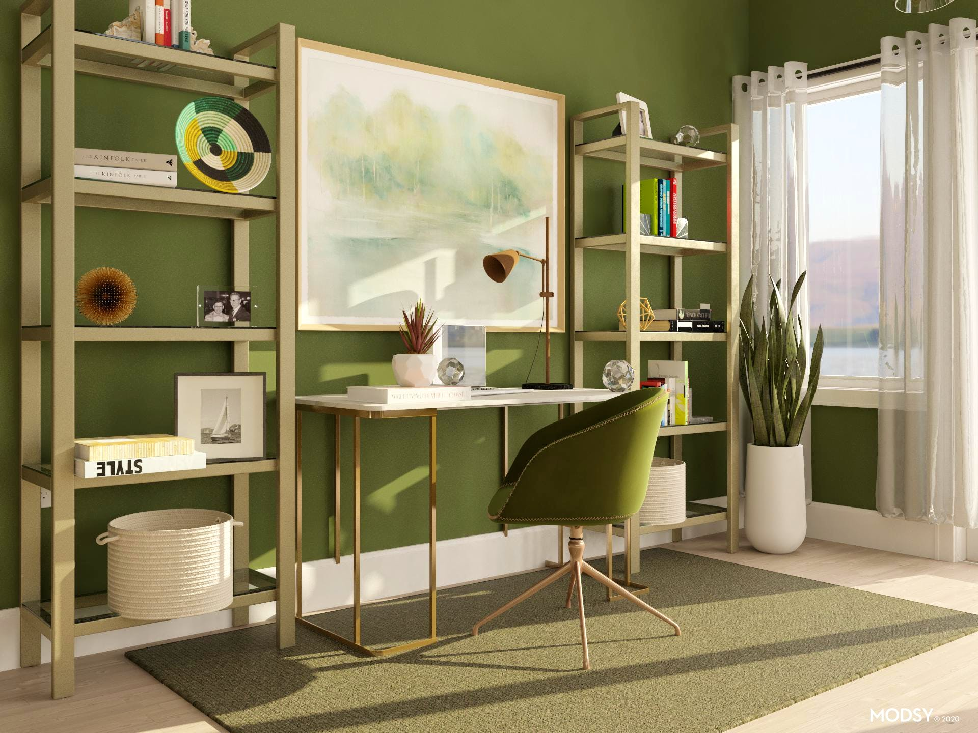 Functional Glamorous Green Home Office