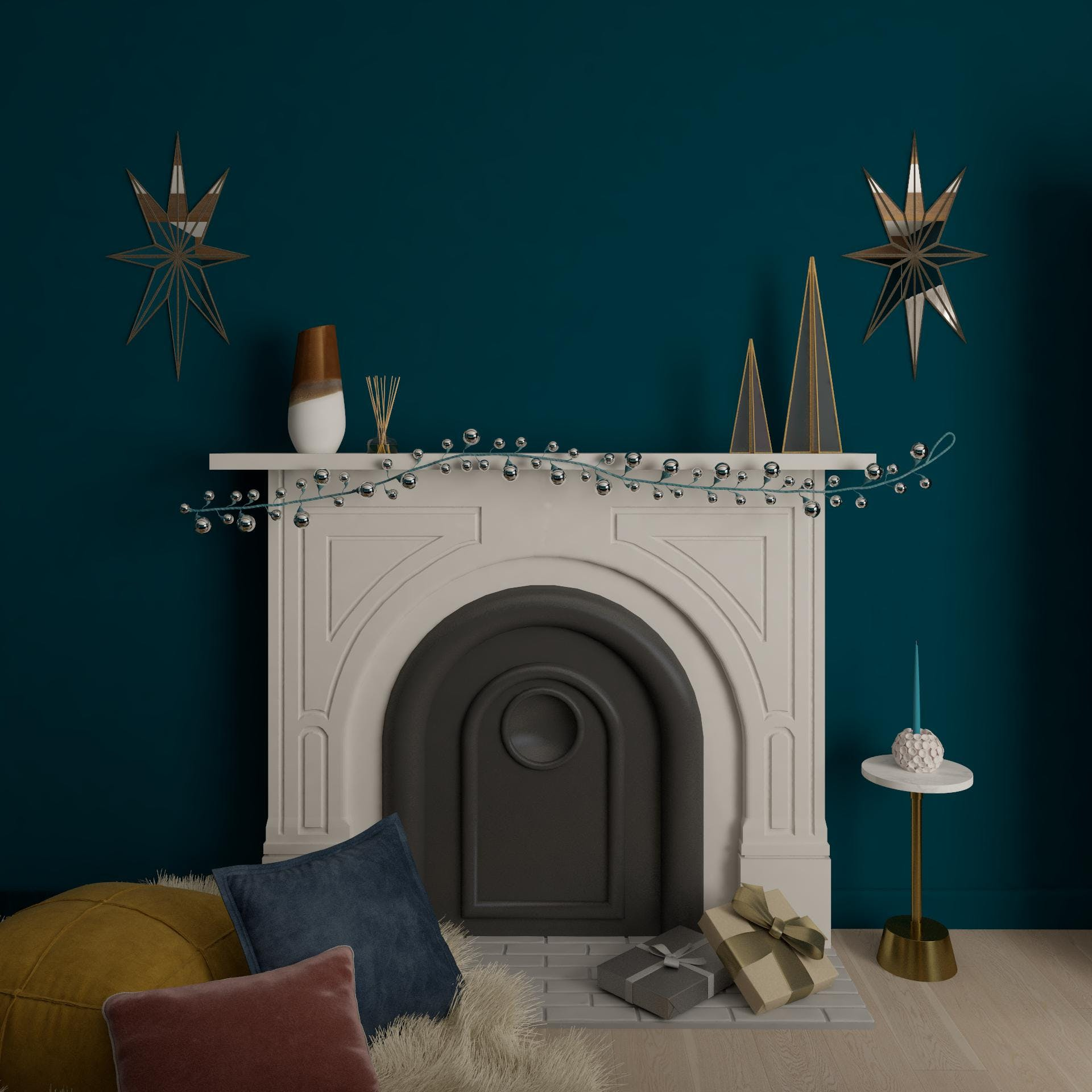 A Bold and Delightfully Glam Mantel