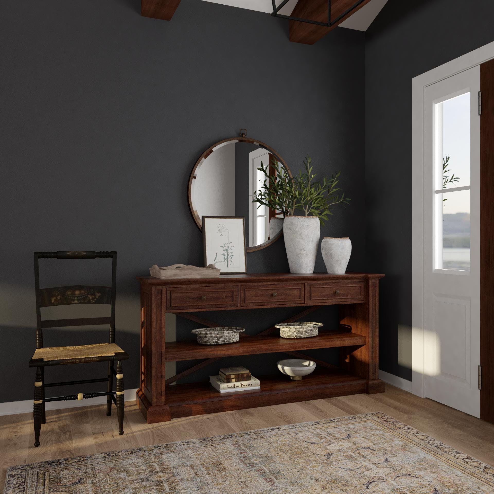 New Traditional Entryway in Moody Hues