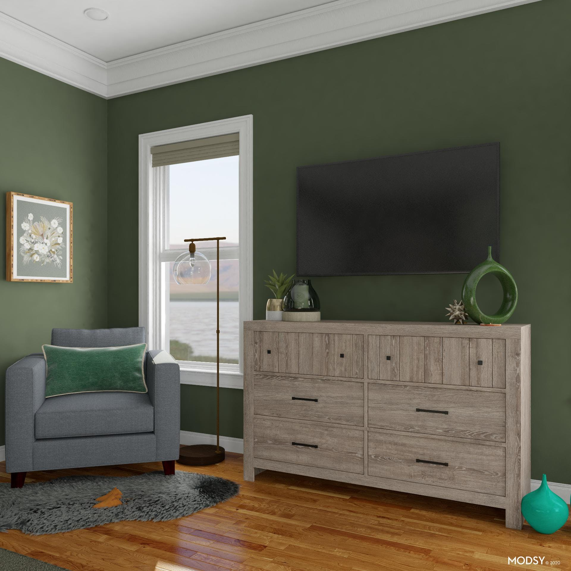 Traditional Bedroom with TV Viewing