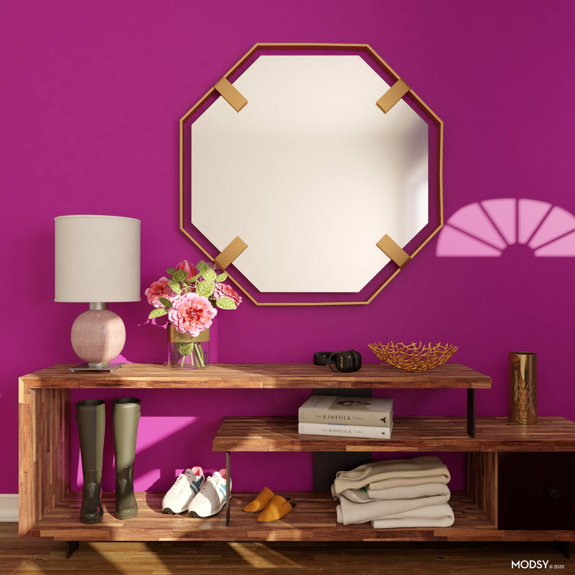 A Vibrant, Beautiful Modern Entry Rose Jewel Tone