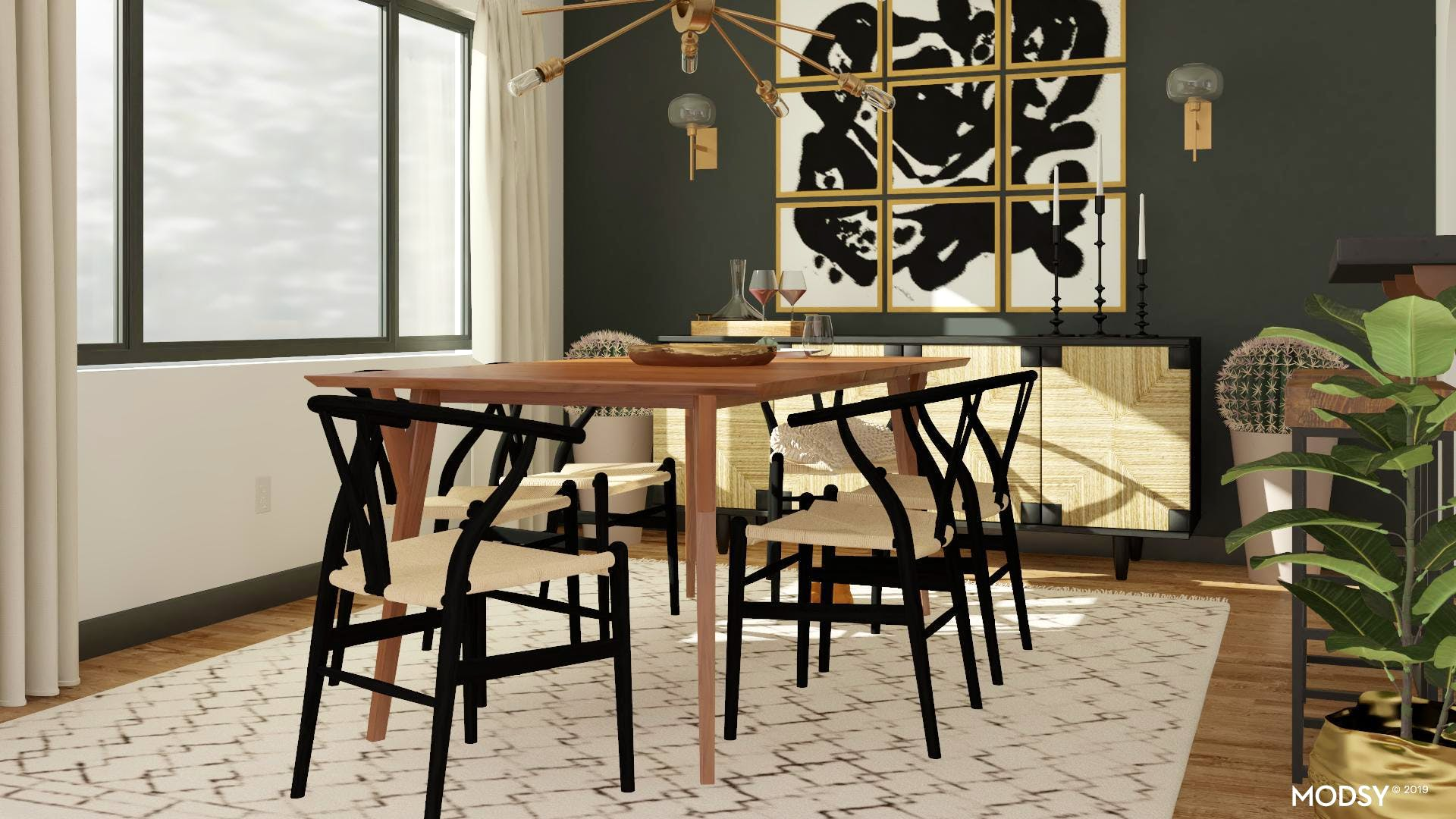 Mid-Century Modern Dining Room With Black & White