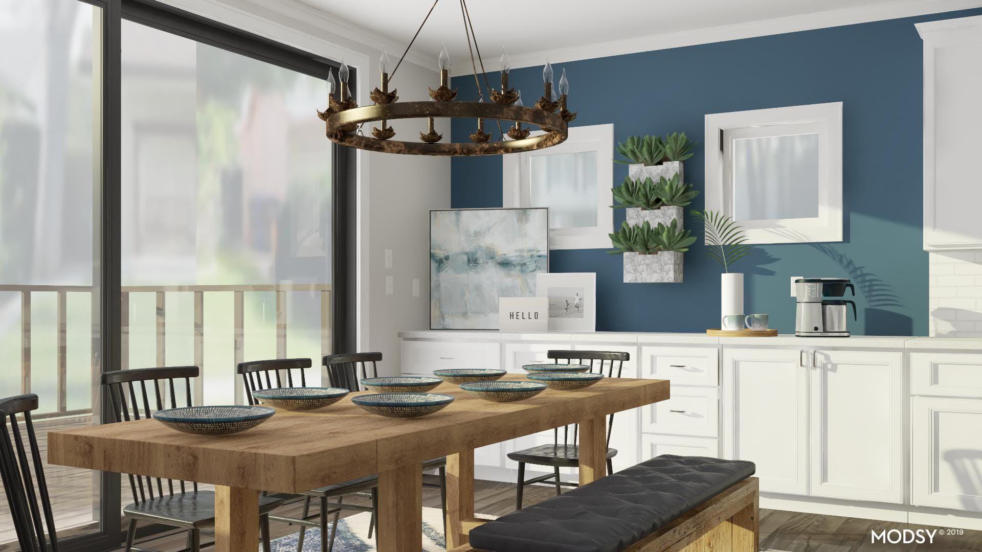 Neutral Toned Dining Room with Pops of Blue