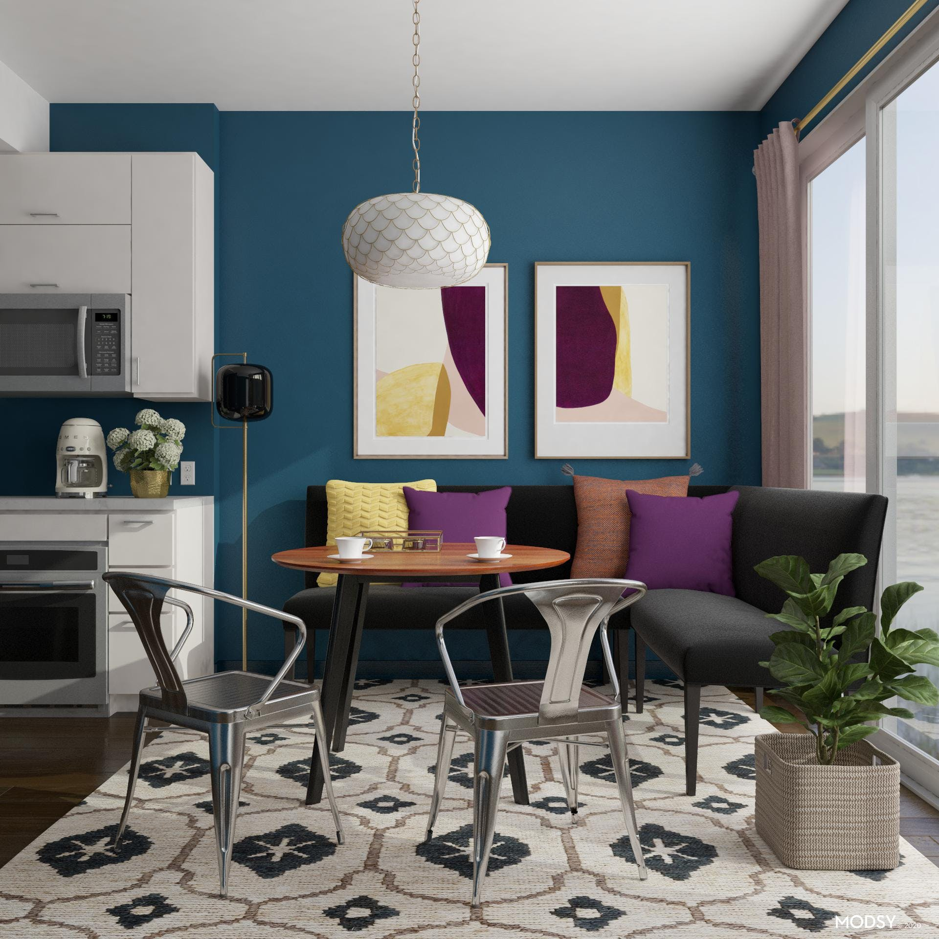 Jewel Toned Kitchen Dining Space