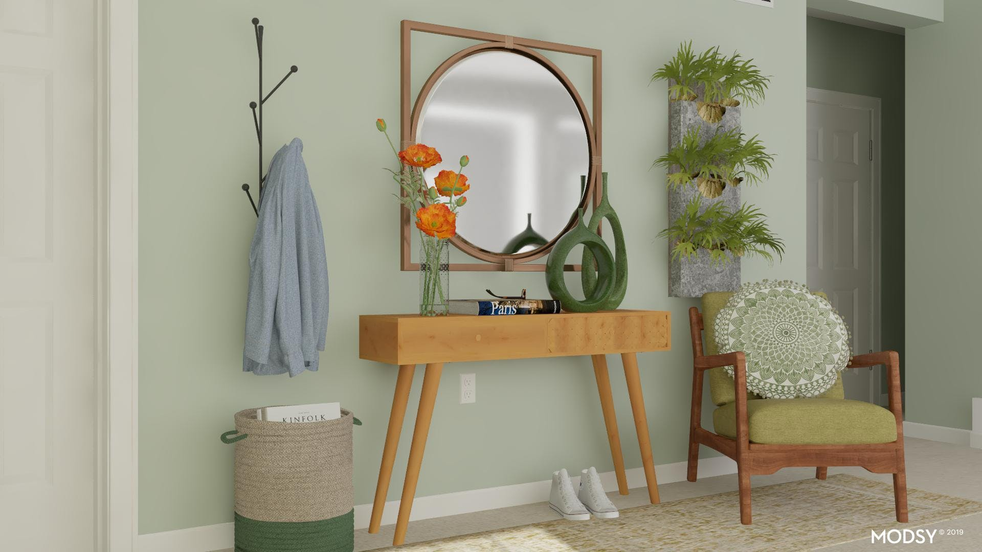 Green Oasis: Mid-Century Modern Entry